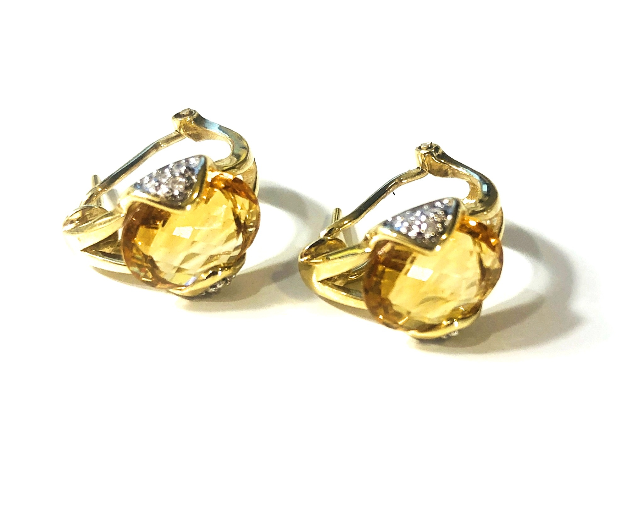 14kt Yellow Gold Citrine and Diamond Earrings