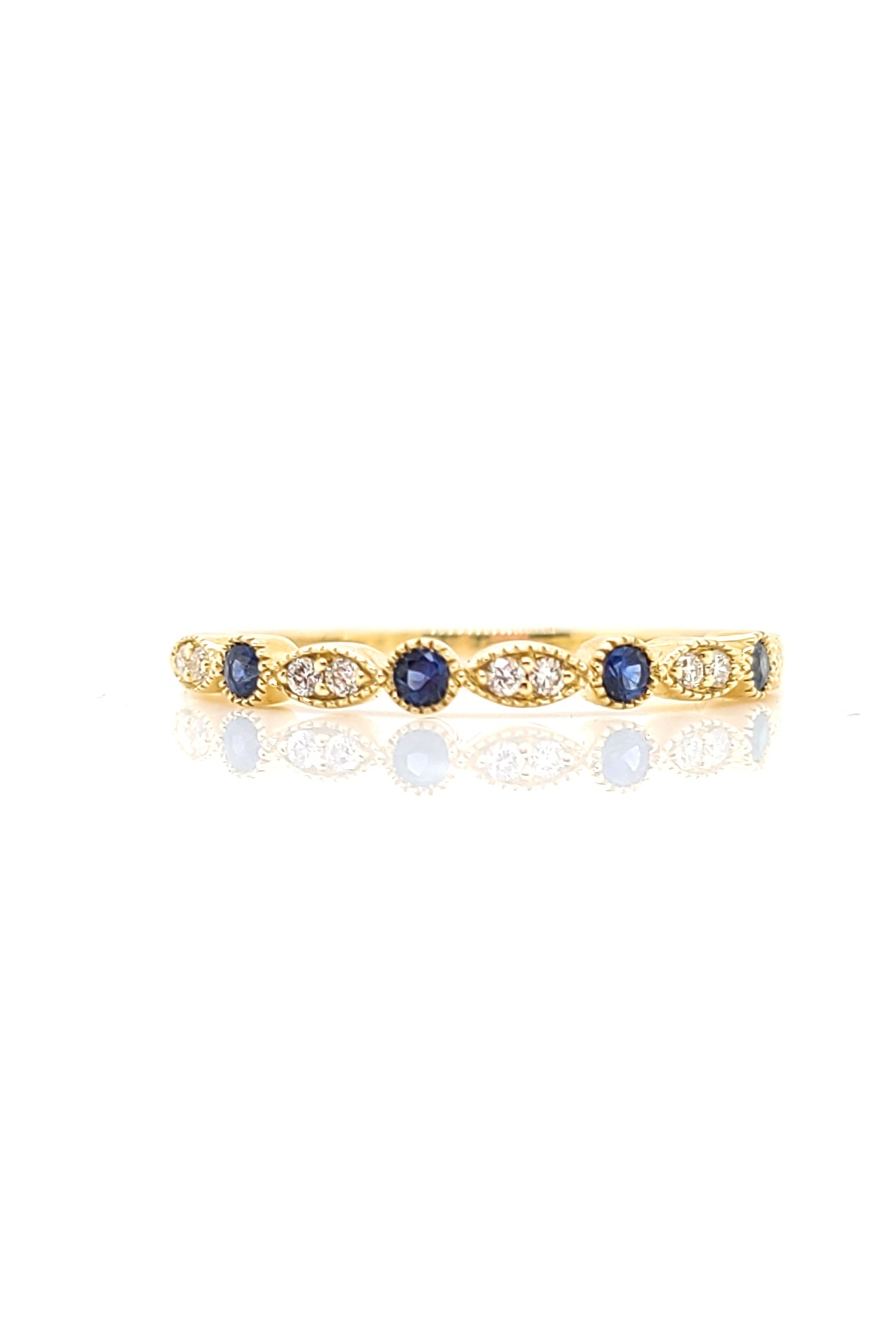 14kt Yellow Gold,  Sapphire & Diamond Stackable Ring