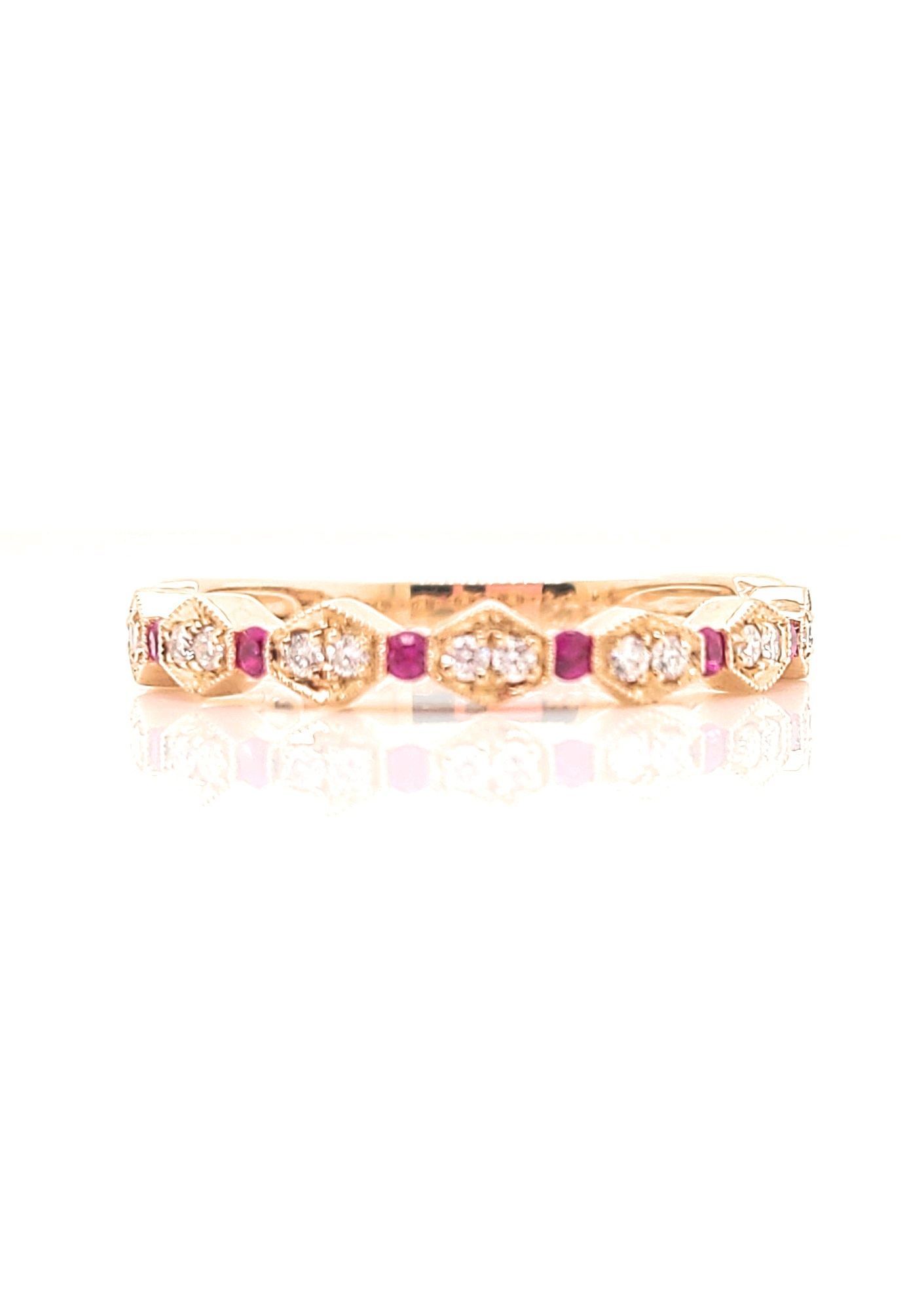 14kt Rose Gold  Ruby & Diamond Stackable Ring