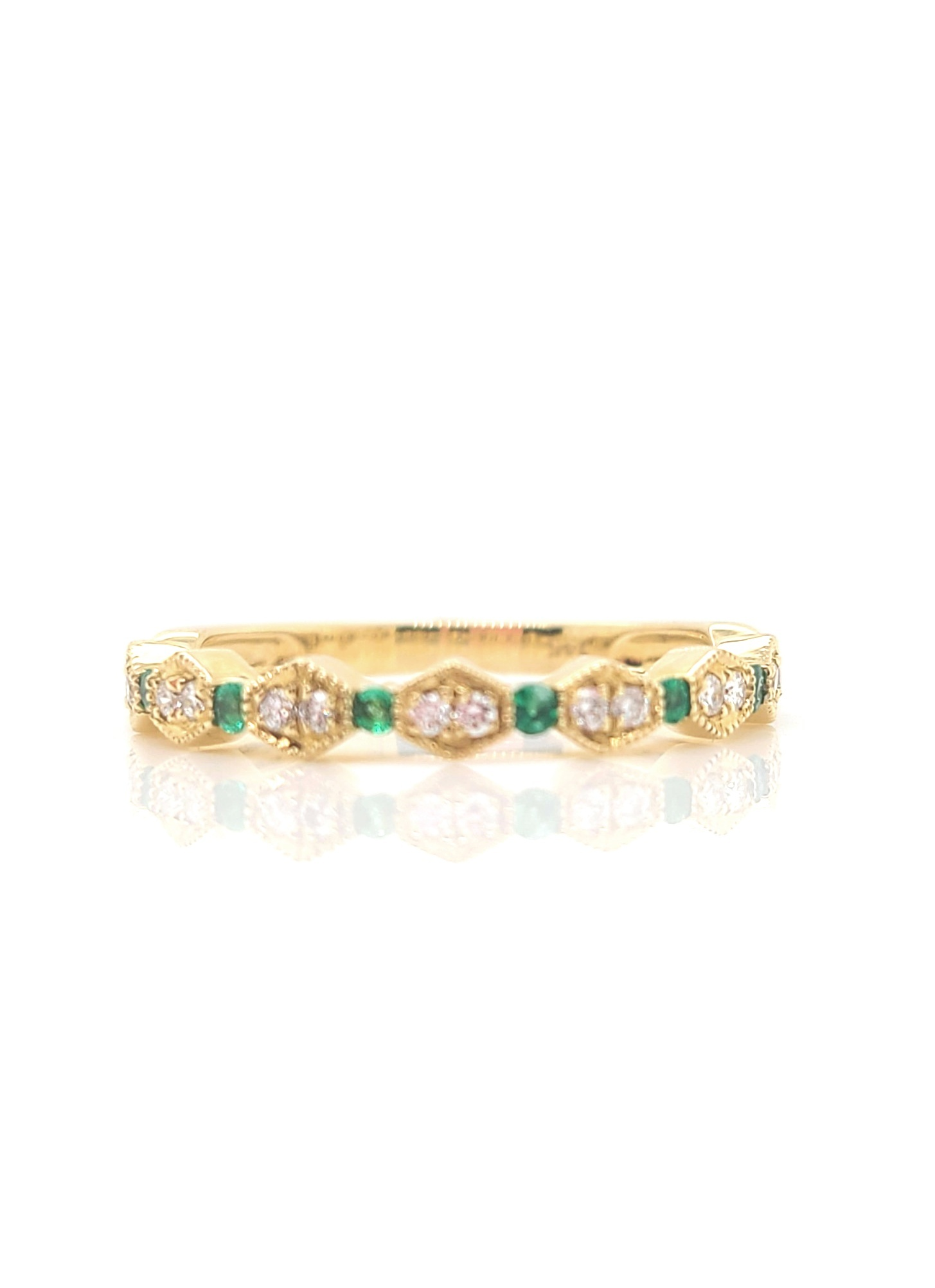 14kt Yellow Gold, Emerald & Diamond Stackable Ring