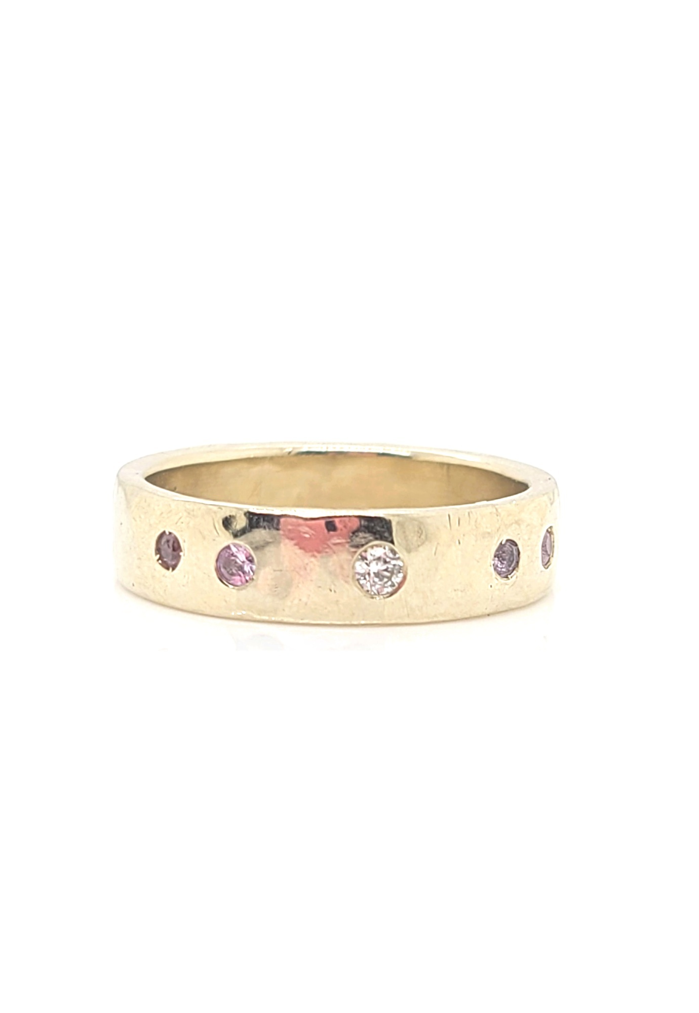 14kt White Gold Band with White Diamonds and Pink Sapphires