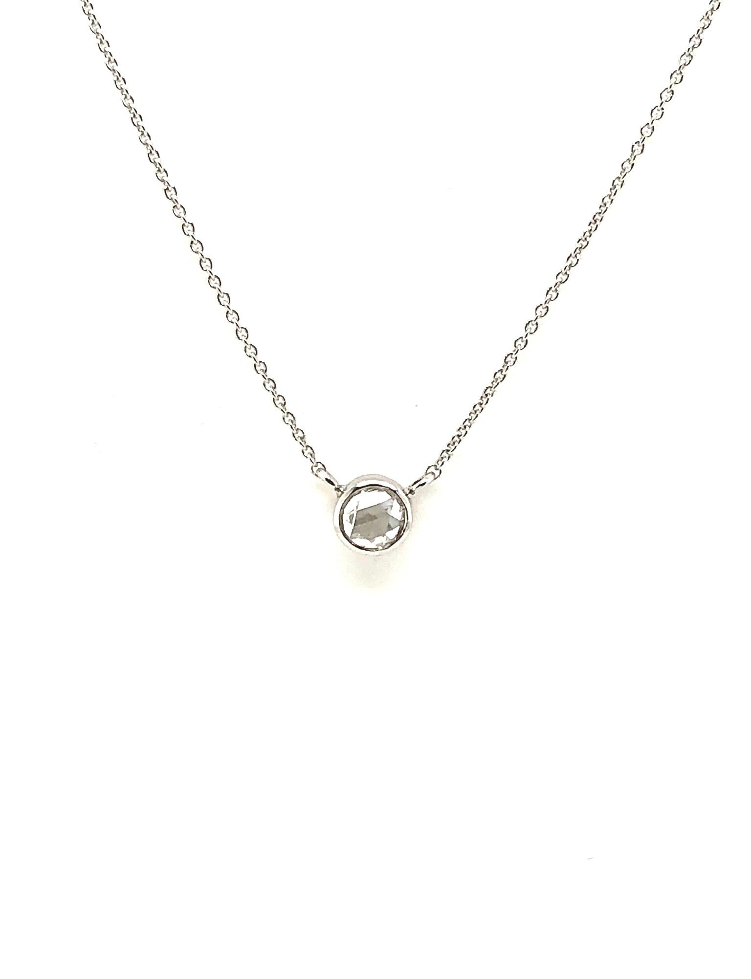 14kt White Gold Pendant Bezel-Set Rose-Cut Diamond 0.18ct