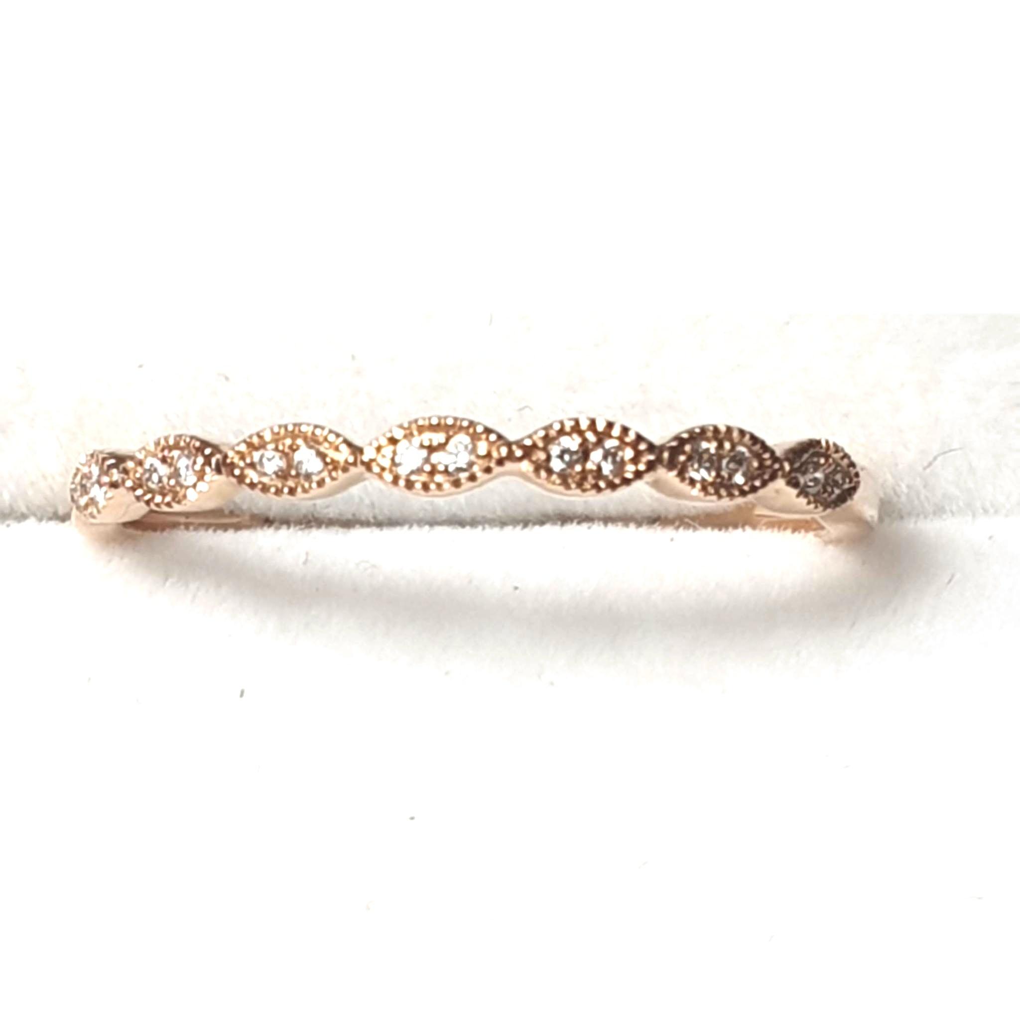 14K RG Diamond Stackable Ring, Infinity-Inspired Milgrain Anniversary Band