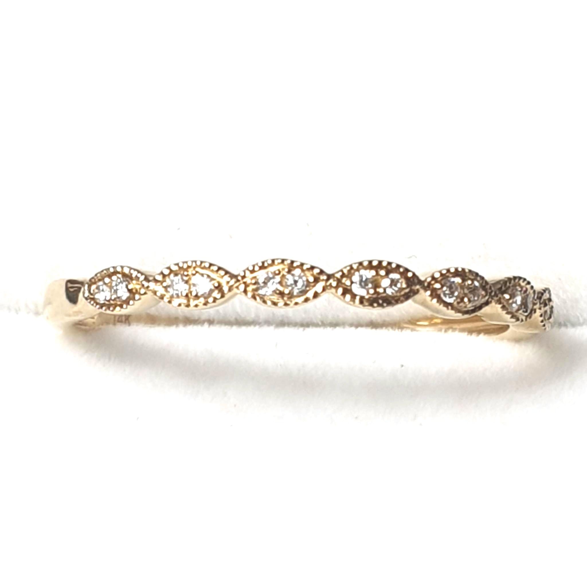 14KY Diamond Stackable Ring, Infinity-Inspired Milgrain Anniversary Band