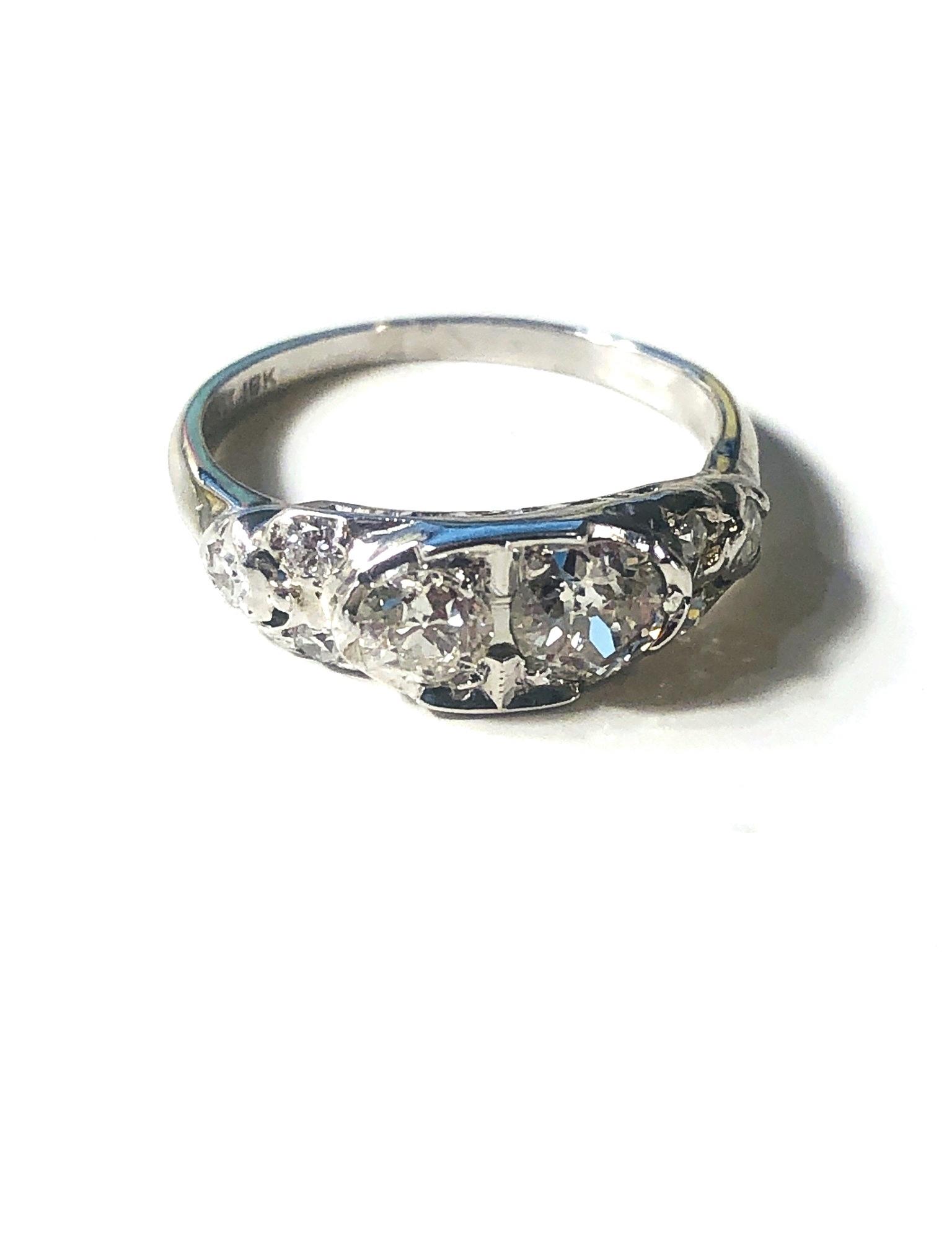 18k wg Granat Bros Vintage Old Miner Diam Ring
