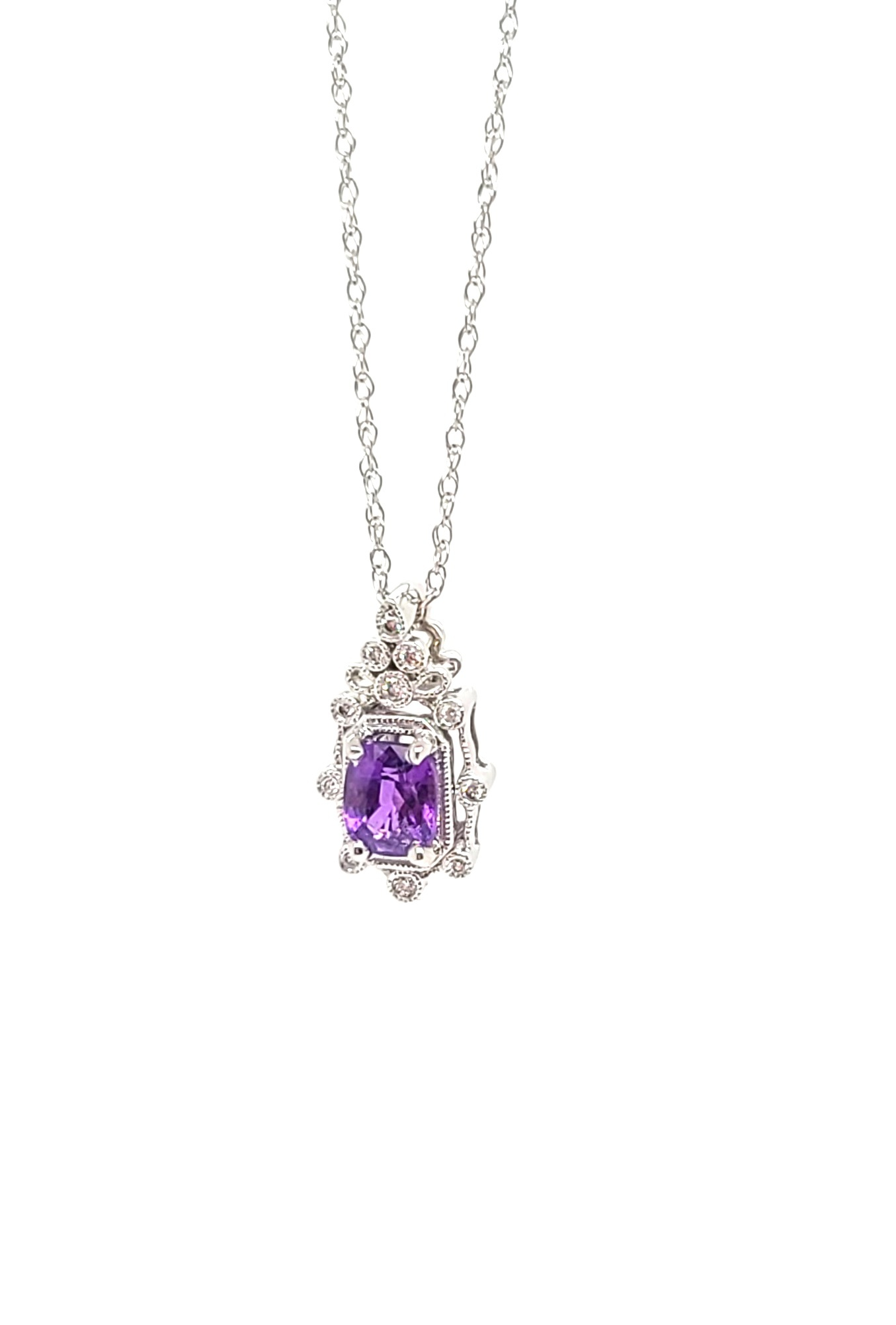 14kt White Gold,  No Heat Burma Purple Sapphire & Diamond Necklace