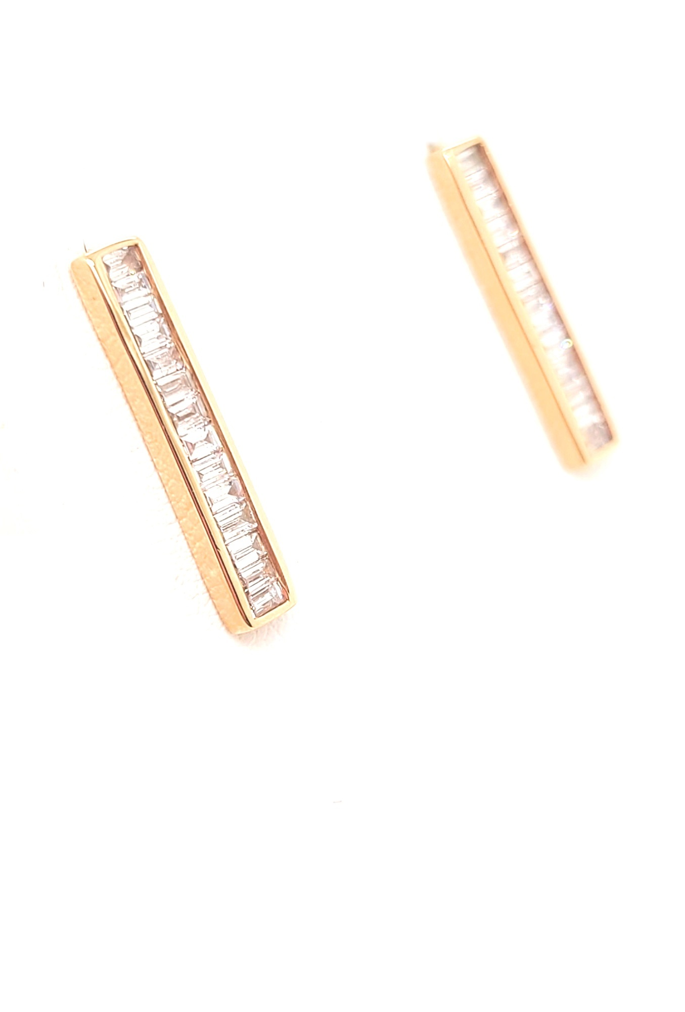 14kt Rose Gold & Diamond Baguette Bar Earrings 0.50cttw