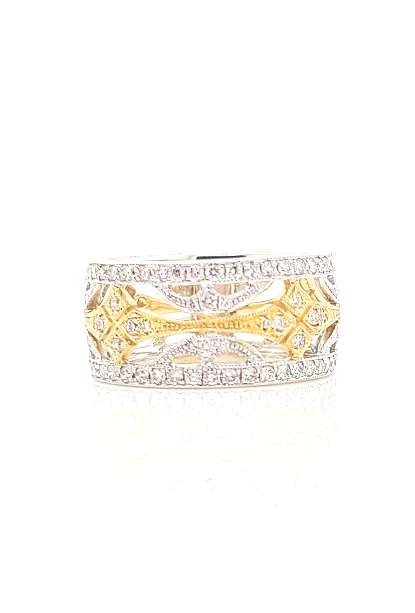 18kt Two Tone Wide Band Filigree Diamond Ring