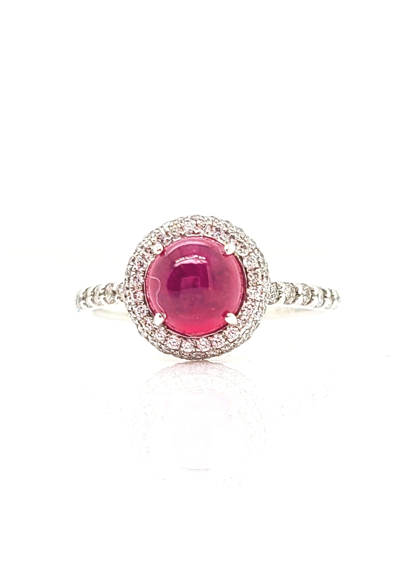 14k White Gold Ruby Cabochon Ring with Pave Diamond Halo