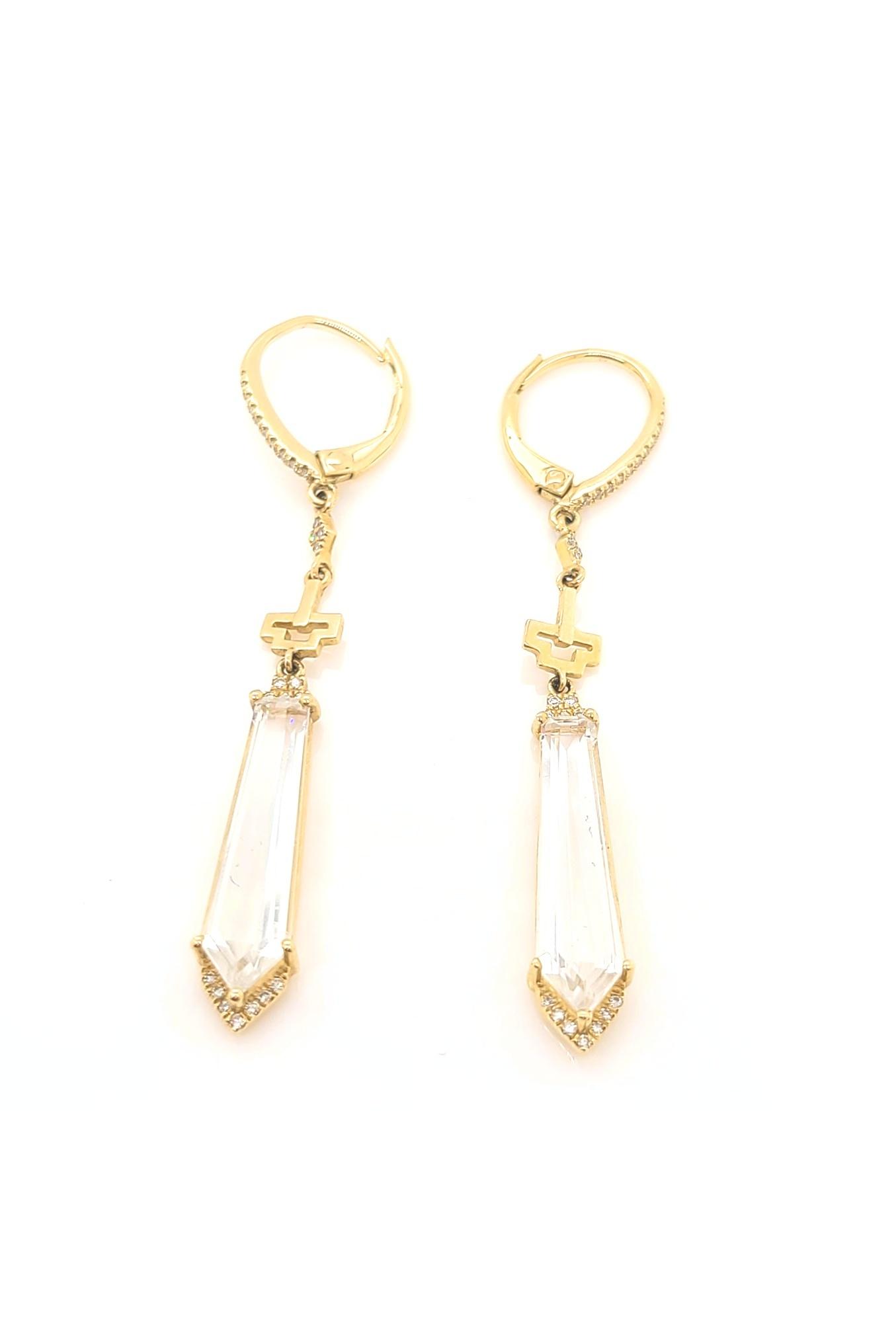 14kt Yellow Gold & White Topaz Dangle Earrings