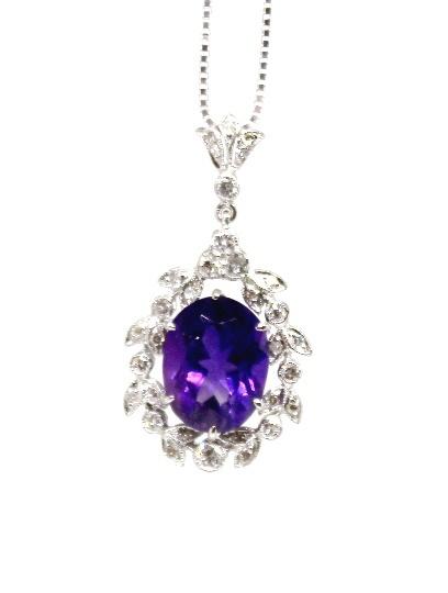 14k wg Art Deco Amethyst Diamond Pendant