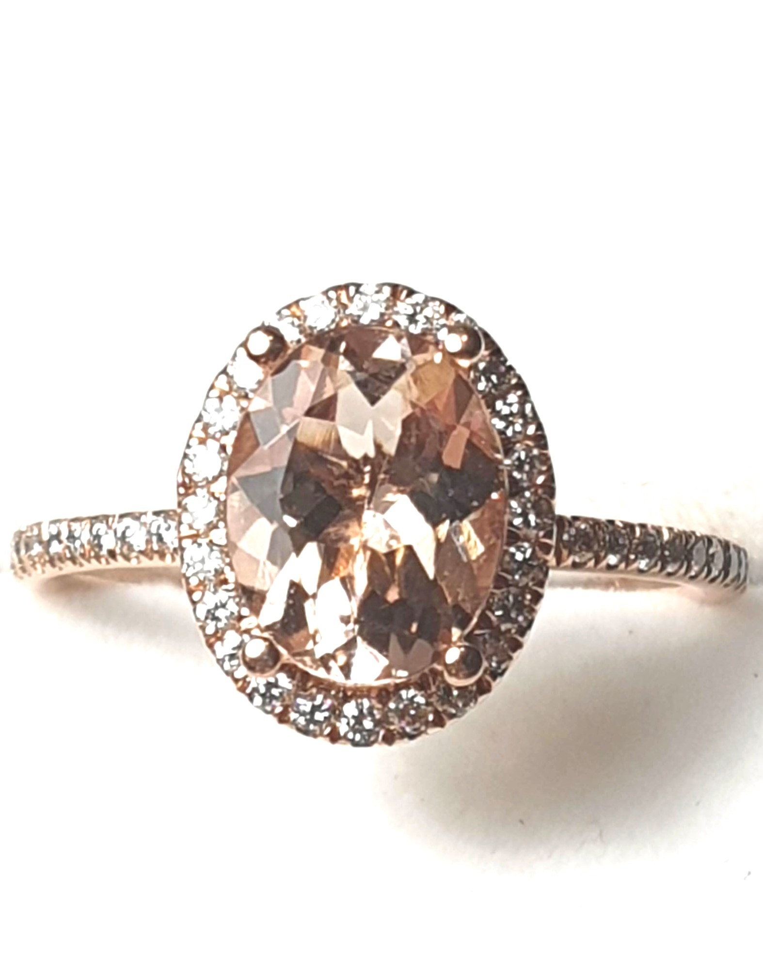 14k RG Oval Morganite Ring w Diamond Halo & Accented Band