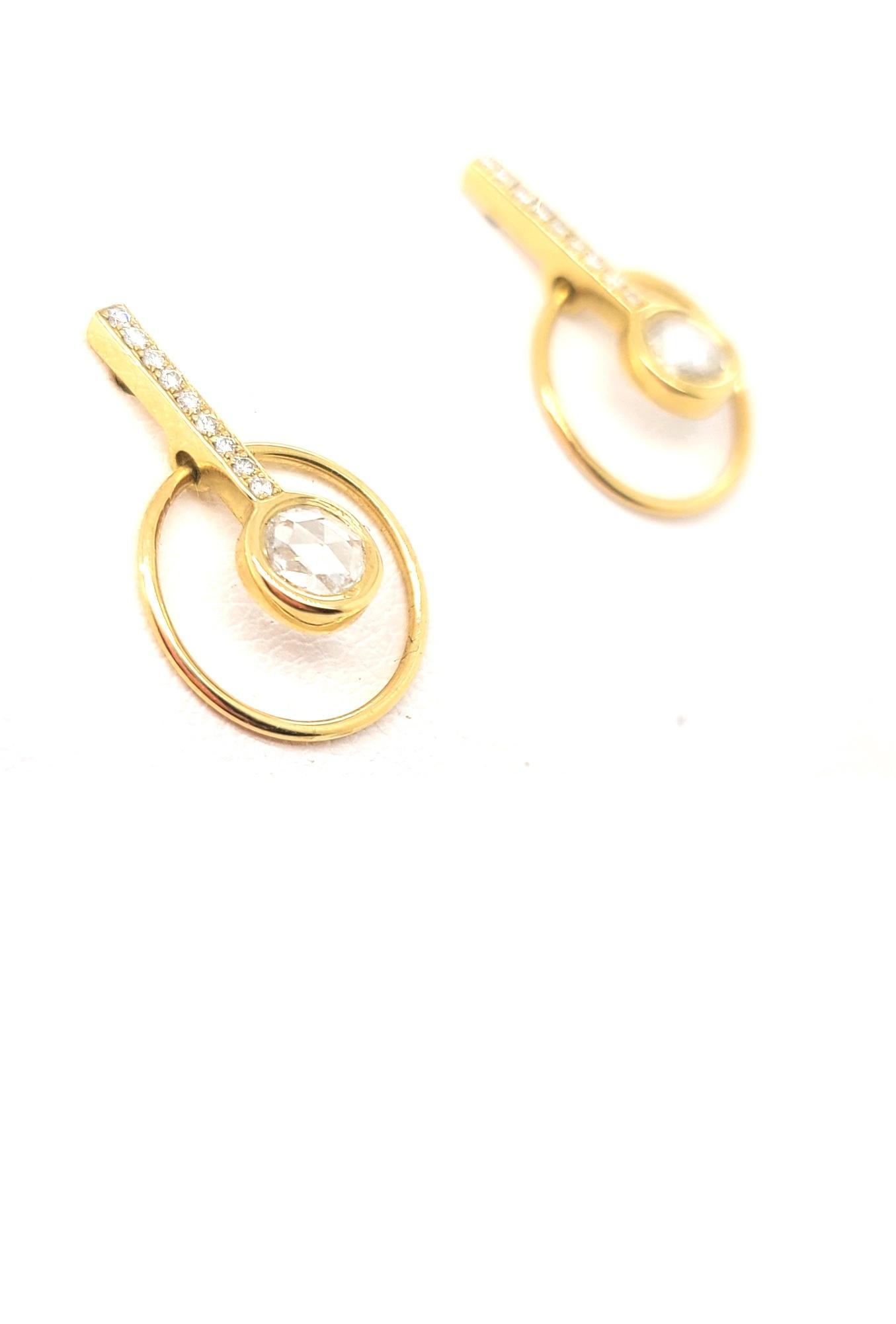 14kt Yellow Gold Circle & Bar Diamond Earrings