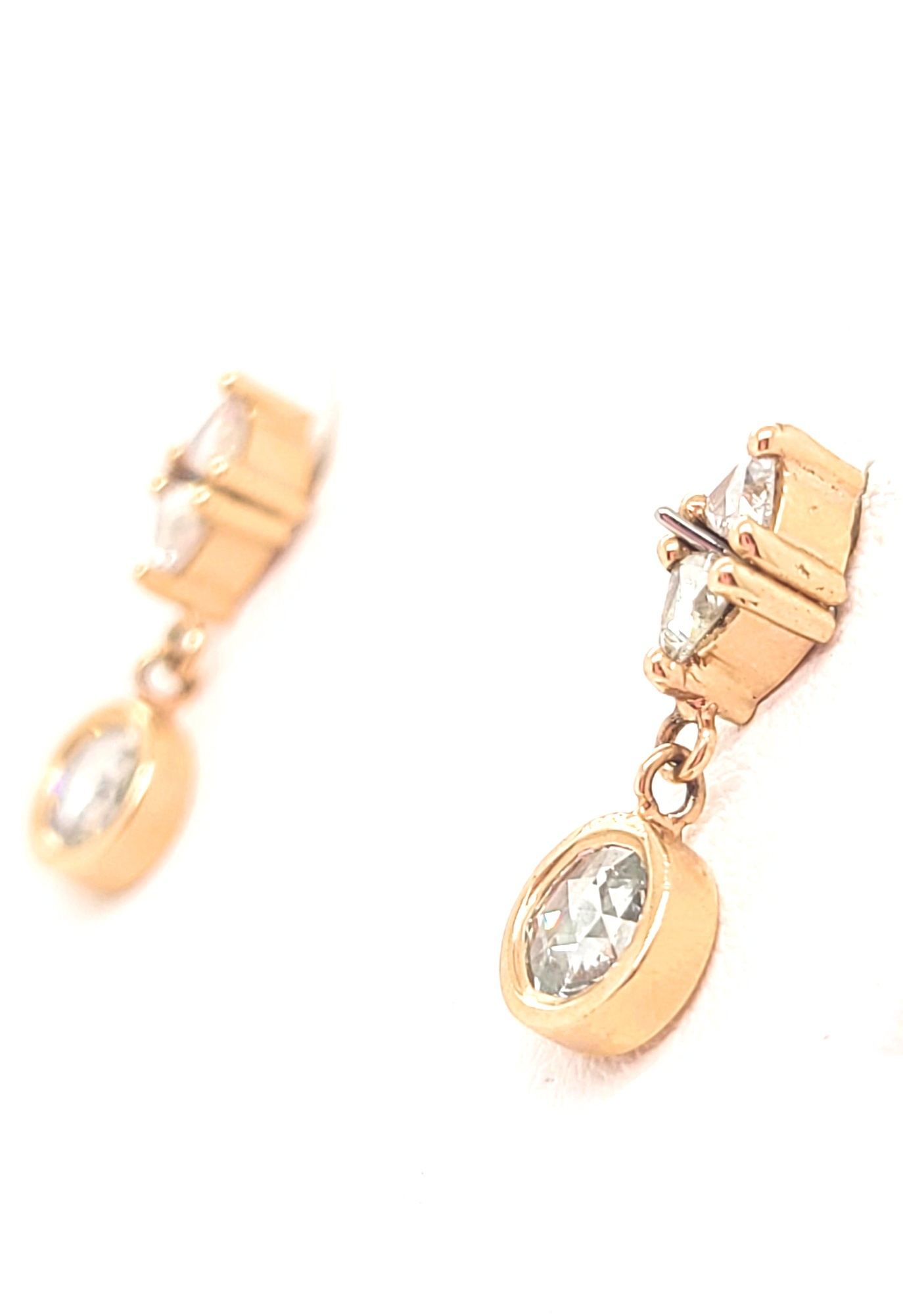 14kt Rose Gold & Rose-Cut Round & Trillion Diamonds