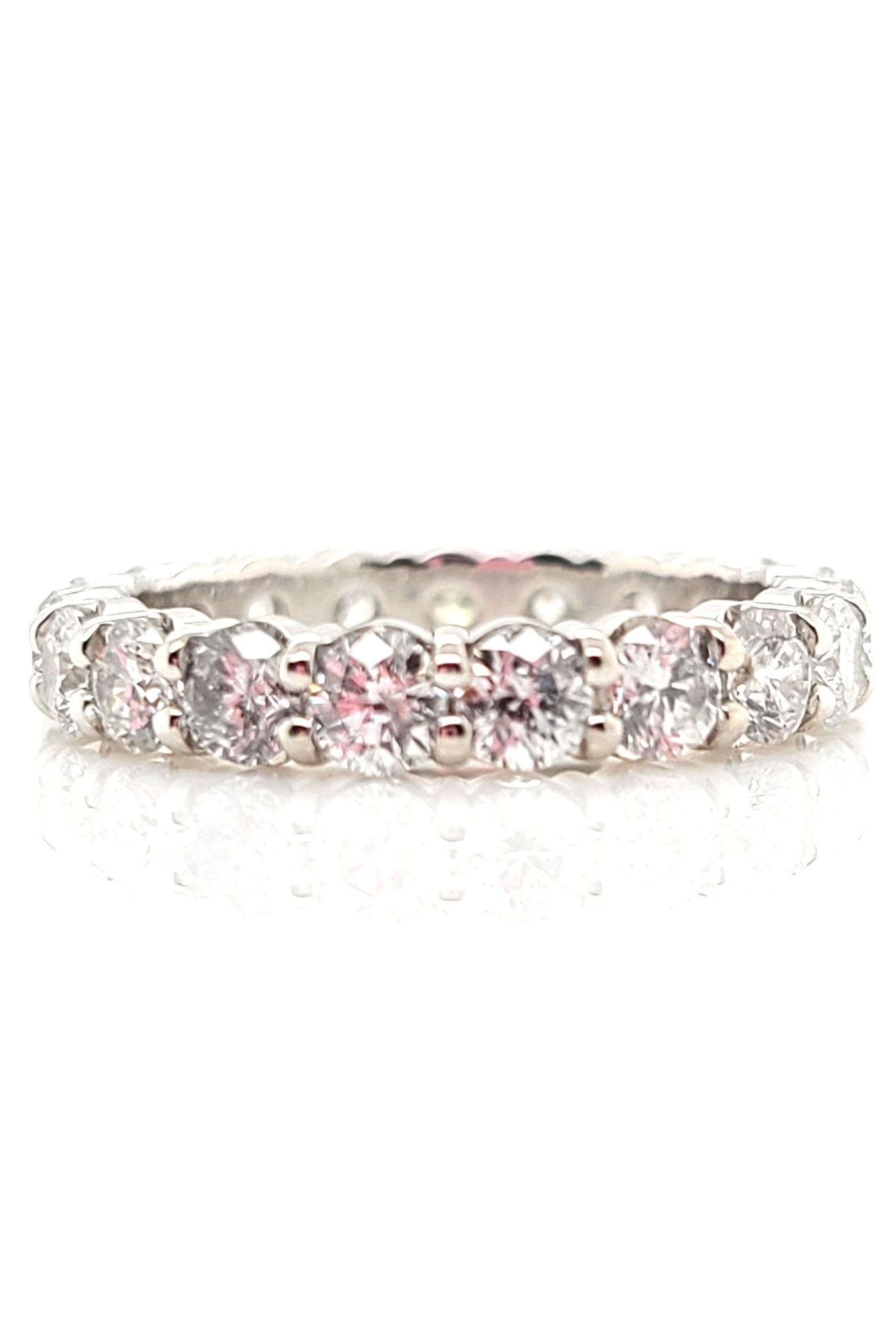 14kt wg Eternity band 2.65cttw E, SI1-SI2
