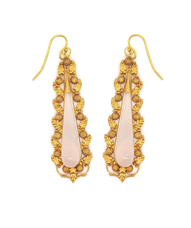 Georgian 15kt Yellow Gold & Chalcedony Elongated-Teardrop  Earrings
