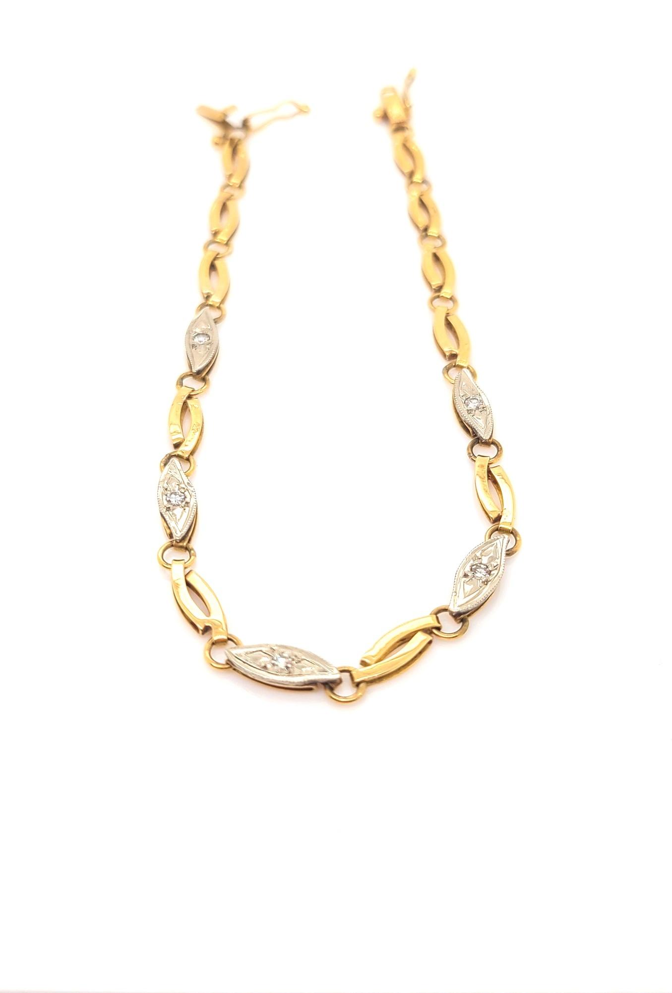 Vintage Platinum & 14kt Yellow Gold Diamond Bracelet