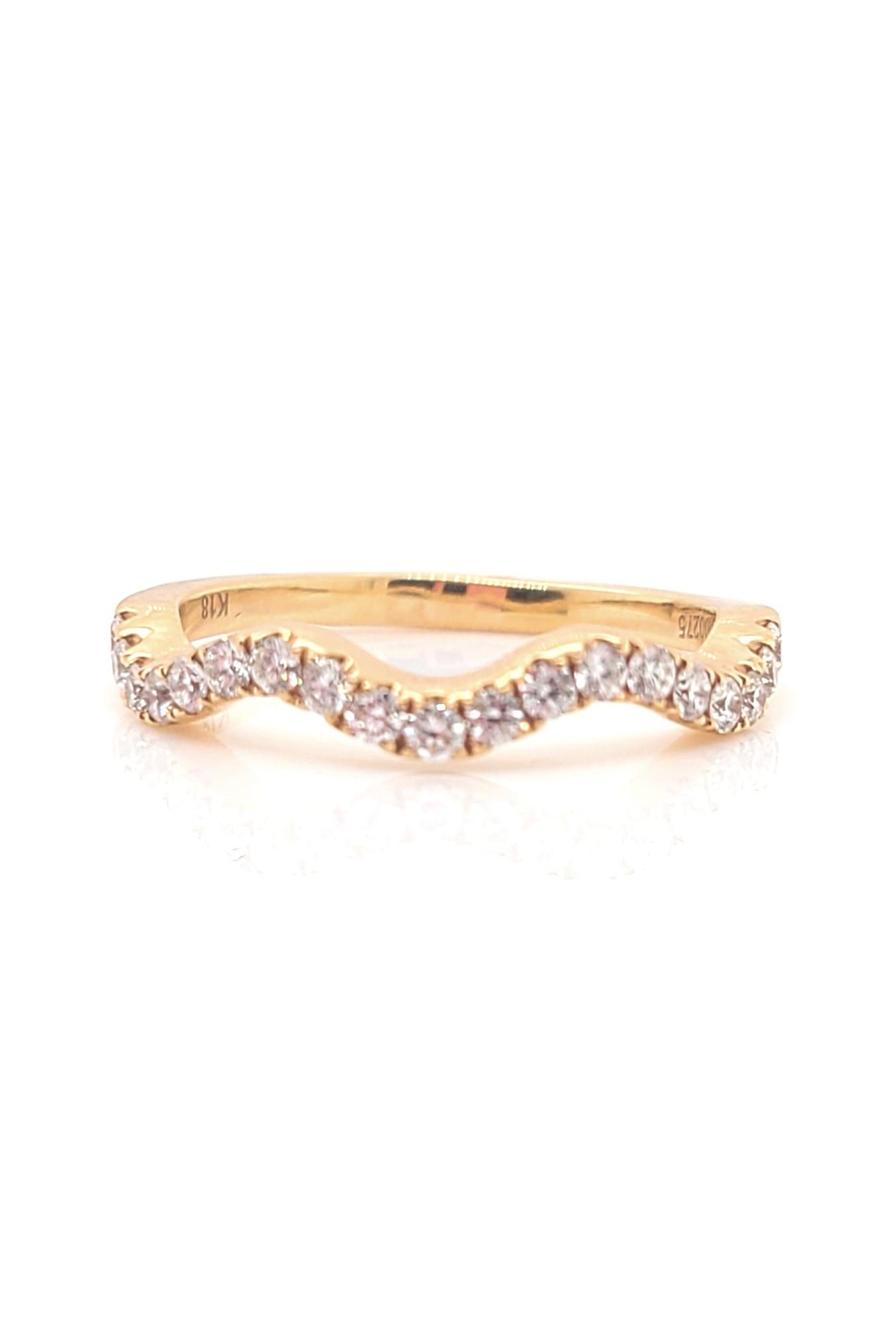 18kt Rose Gold Wave Band Diamond  0.275cttw