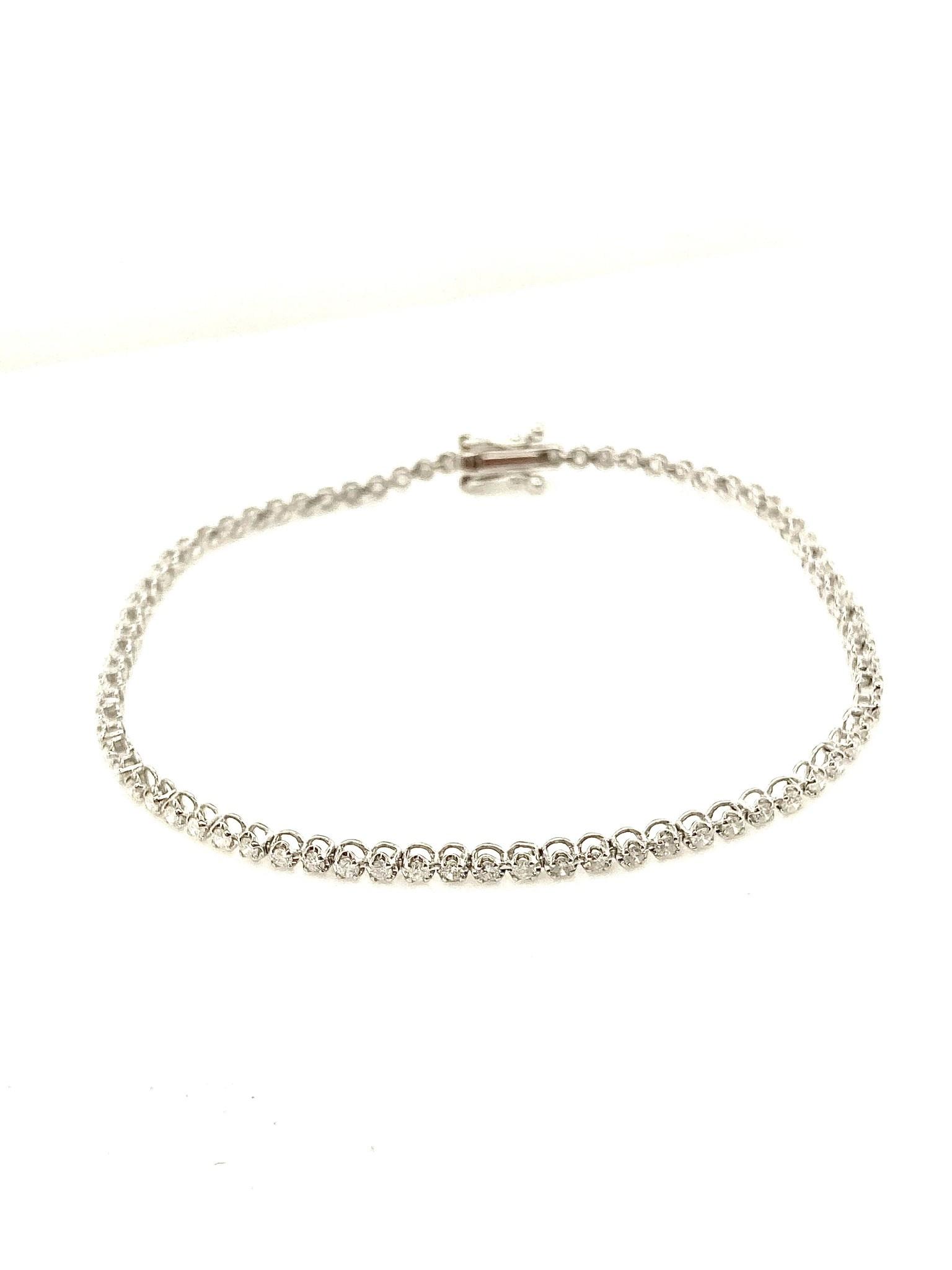 """18K White Gold 1.00ctw Diamond Illusion Set 7"""" Tennis Bracelet"""