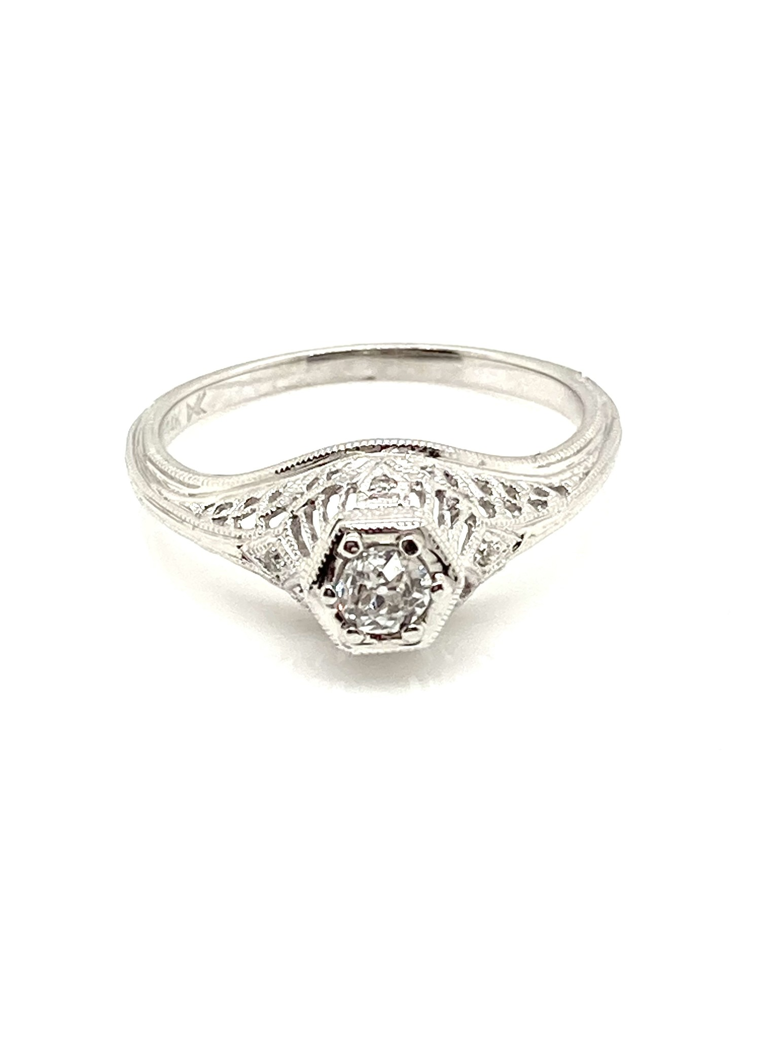 14k White Gold  0.20ct Diamond Filigree Ring