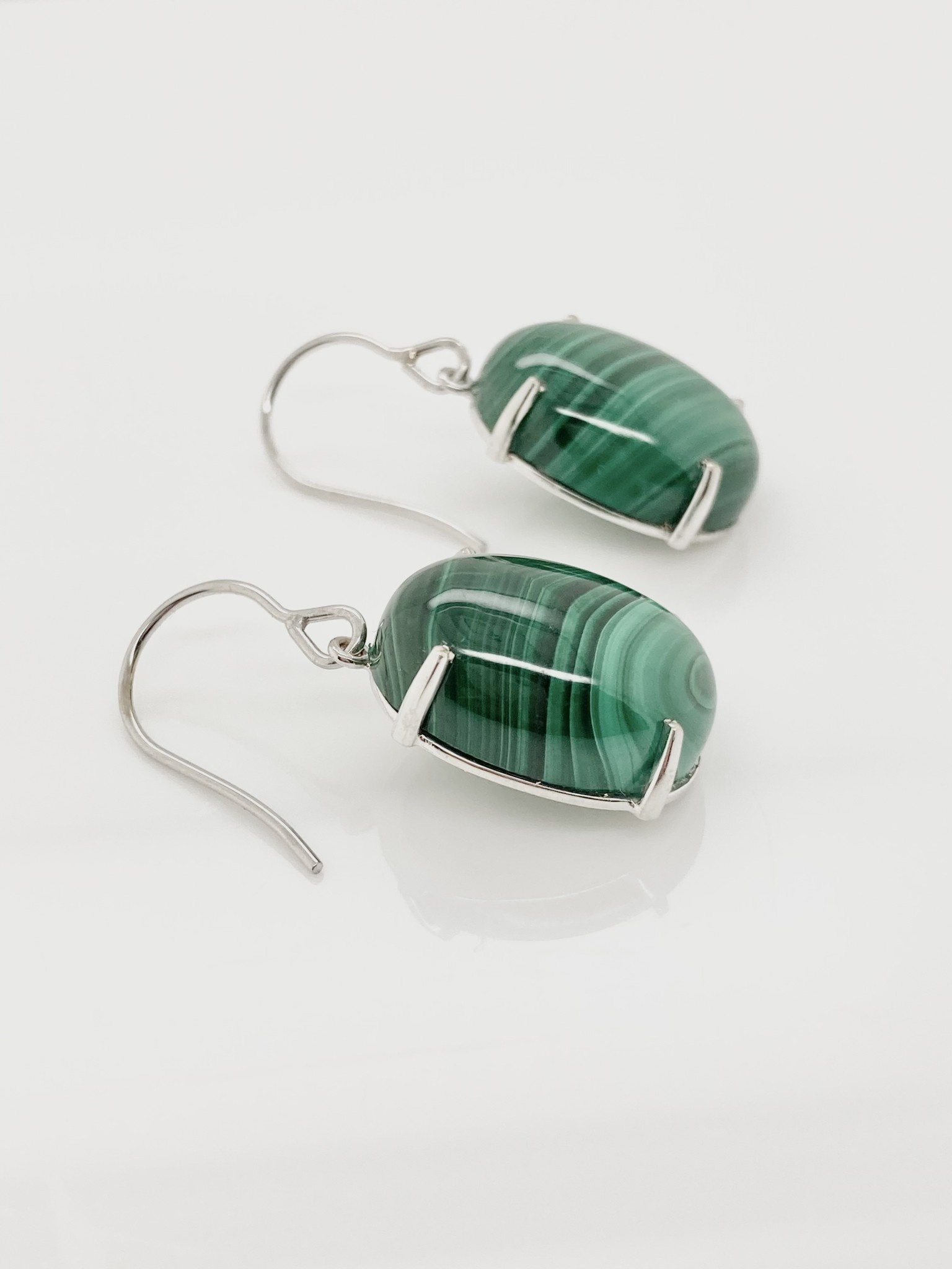 14kt White Gold & Malachite drop earrings