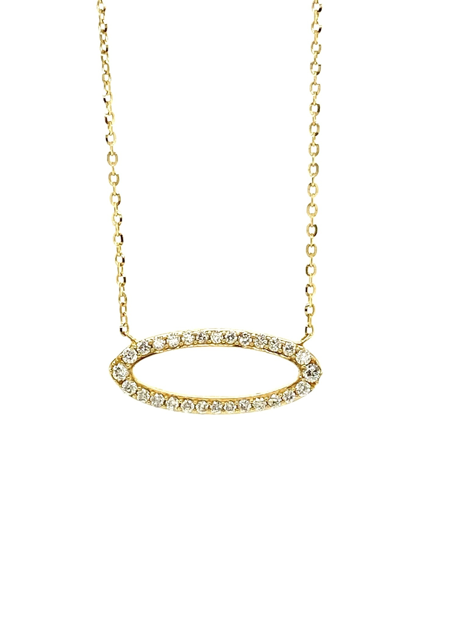 14K Yellow Gold 0.21ct Diamonds Oval Necklace