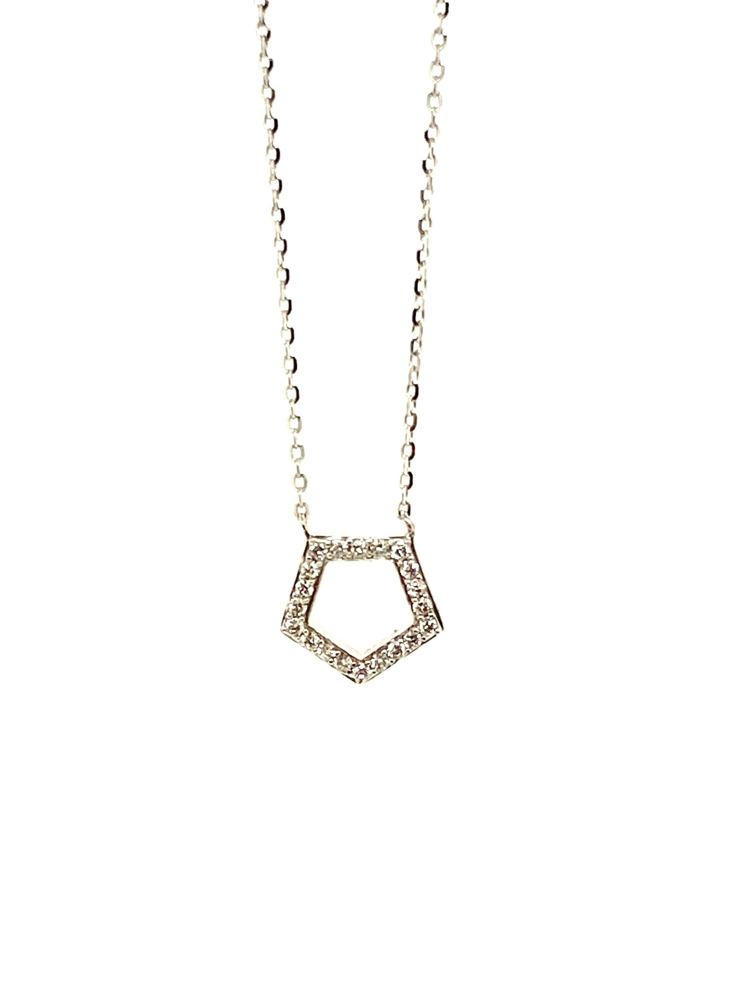14K White Gold 0.11ct Diamonds Pentagon Necklace