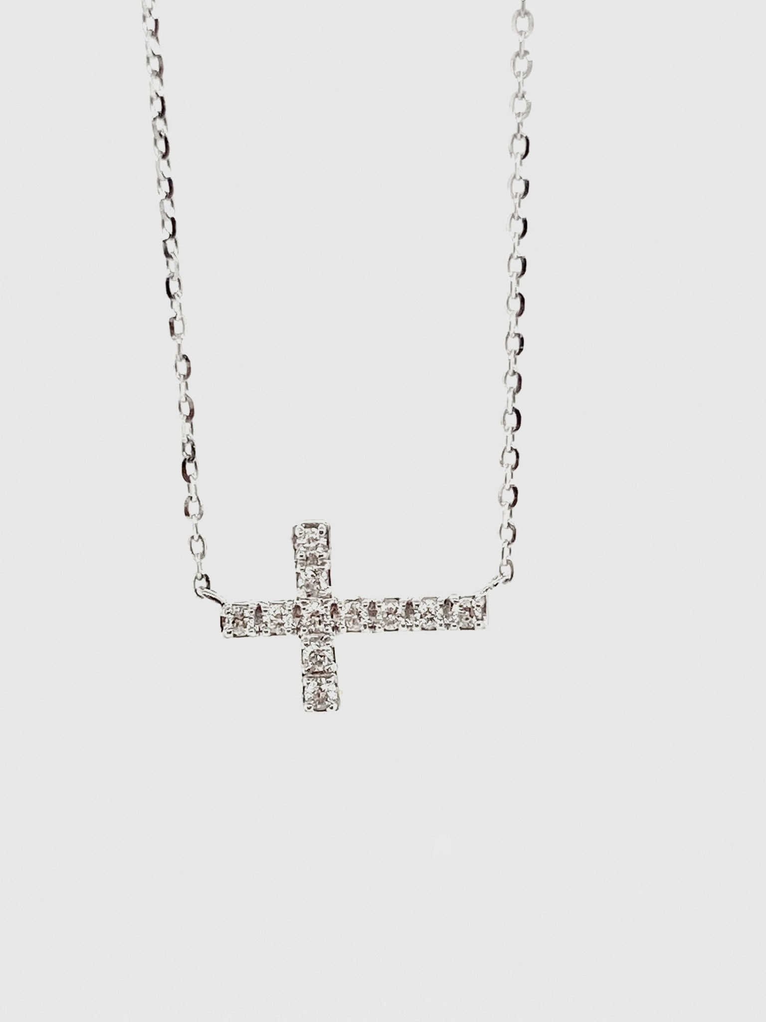 14K White Gold 0.11ct Diamonds Cross Necklace
