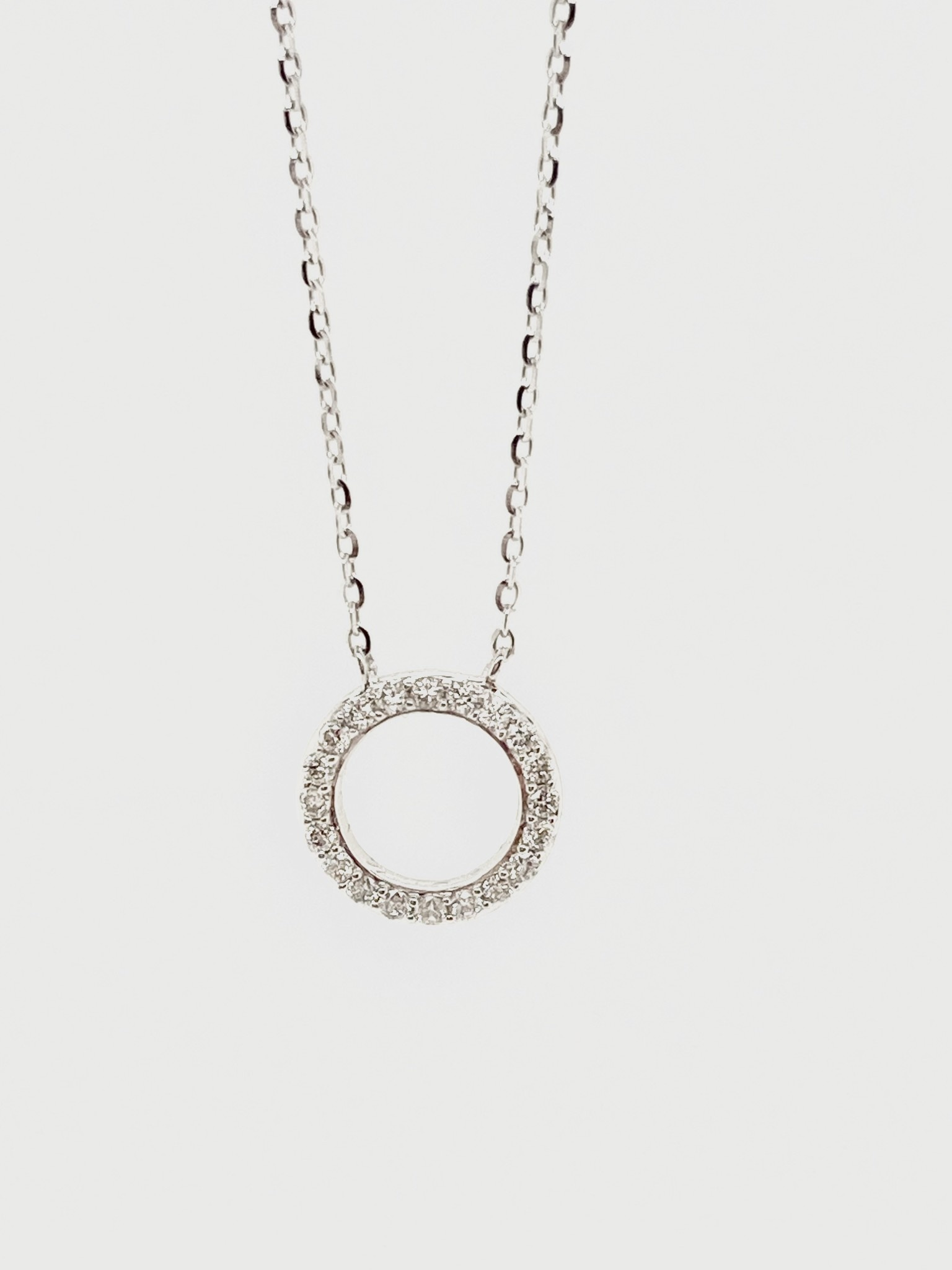 14K White Gold 0.14ct Diamonds Circle Necklace