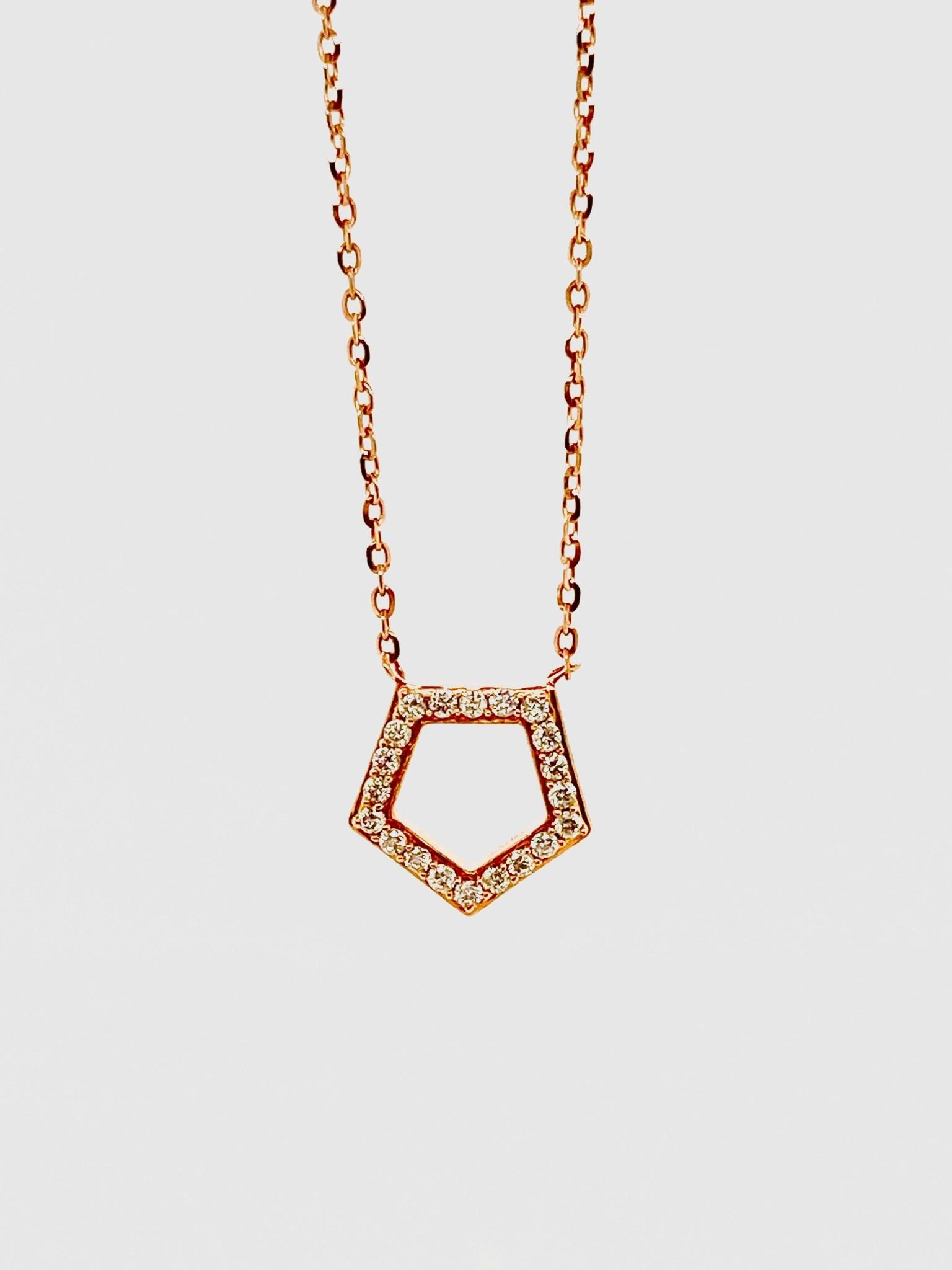 14K Rose Gold 0.11ct Diamonds Pentagon Necklace