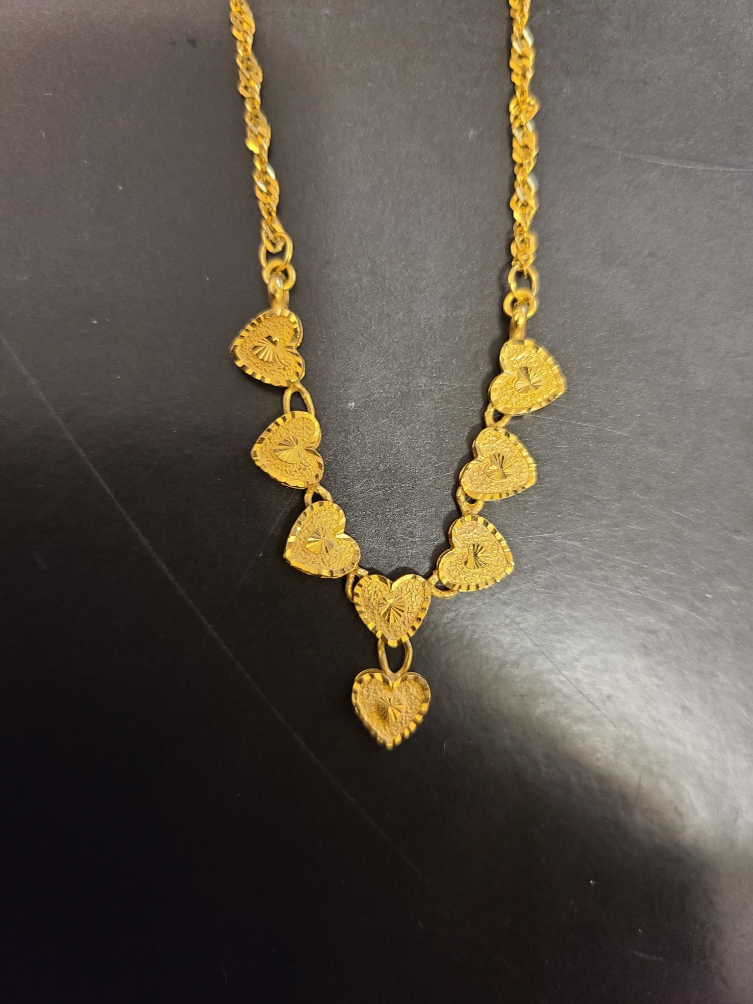 22kt yg, 18 inch heart necklace