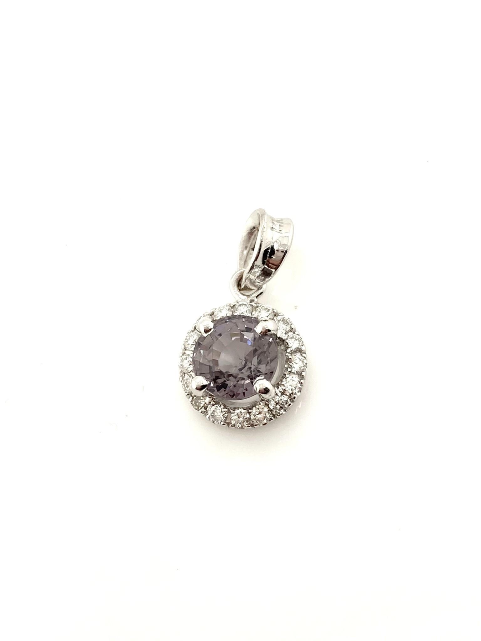 14K White Gold Lilac Burma Spinel with Diamond Halo Pendant