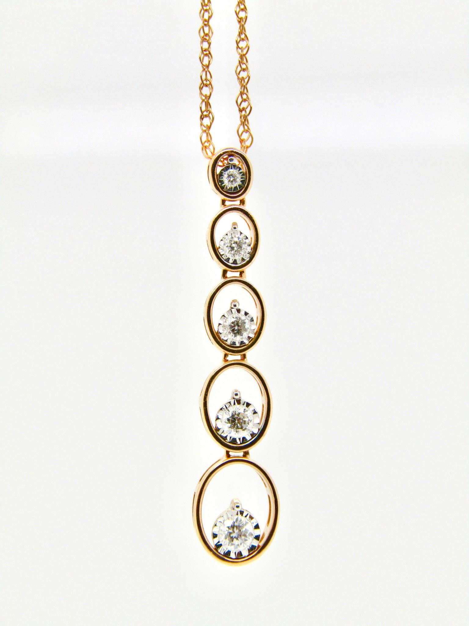 14K Rose Gold .20cttw Diamond Necklace