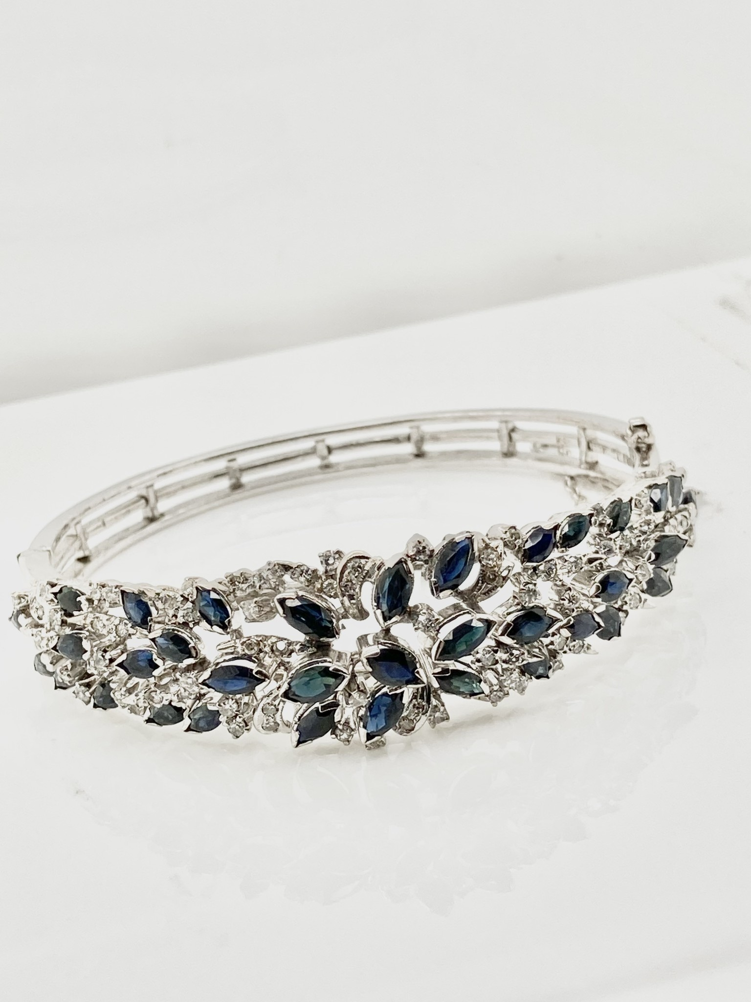 Diamond & Blue Sapphire Hinged Bangle Bracelet