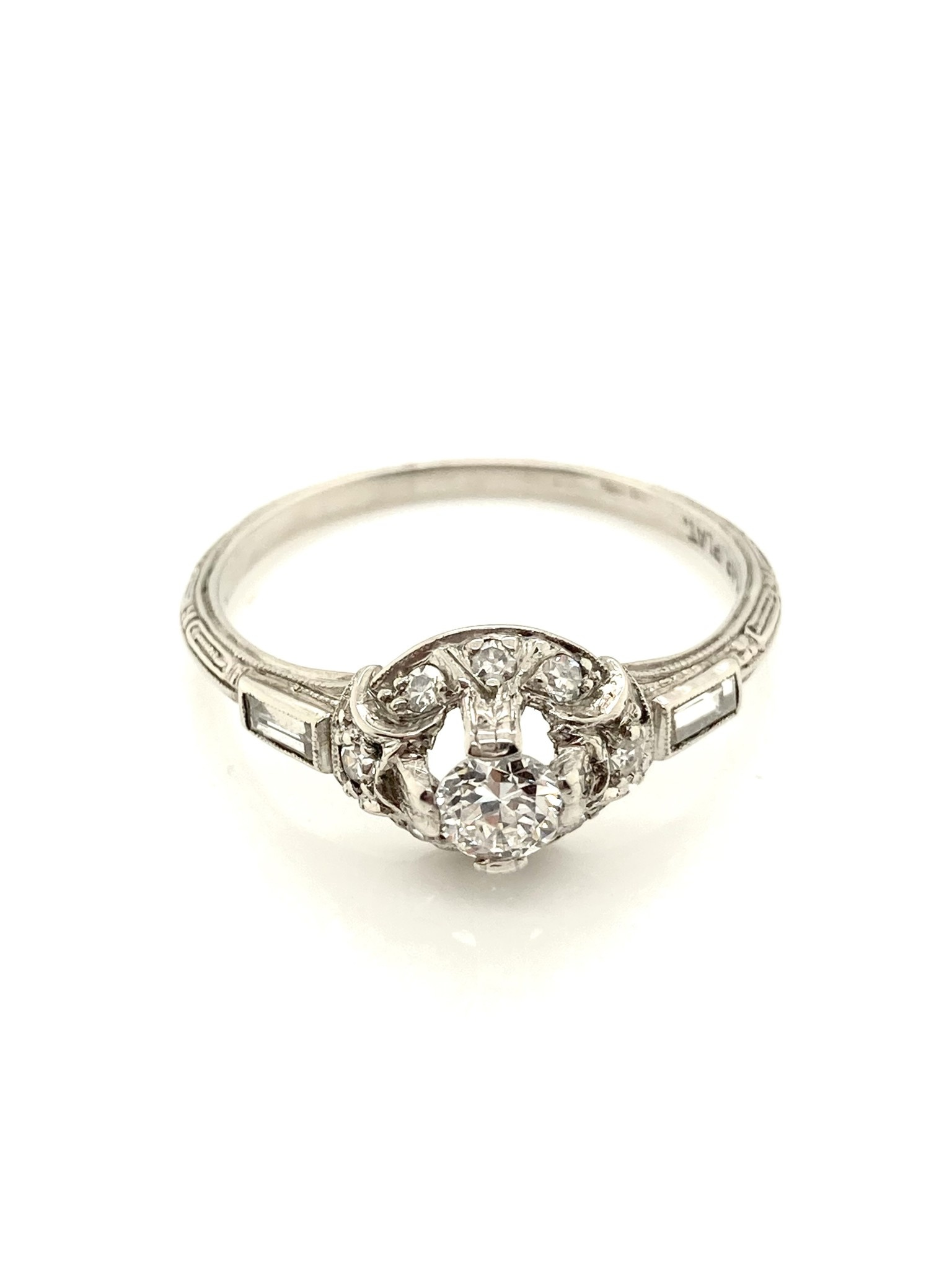 Platinum Diamond Ring with Halo and Engraved Shank