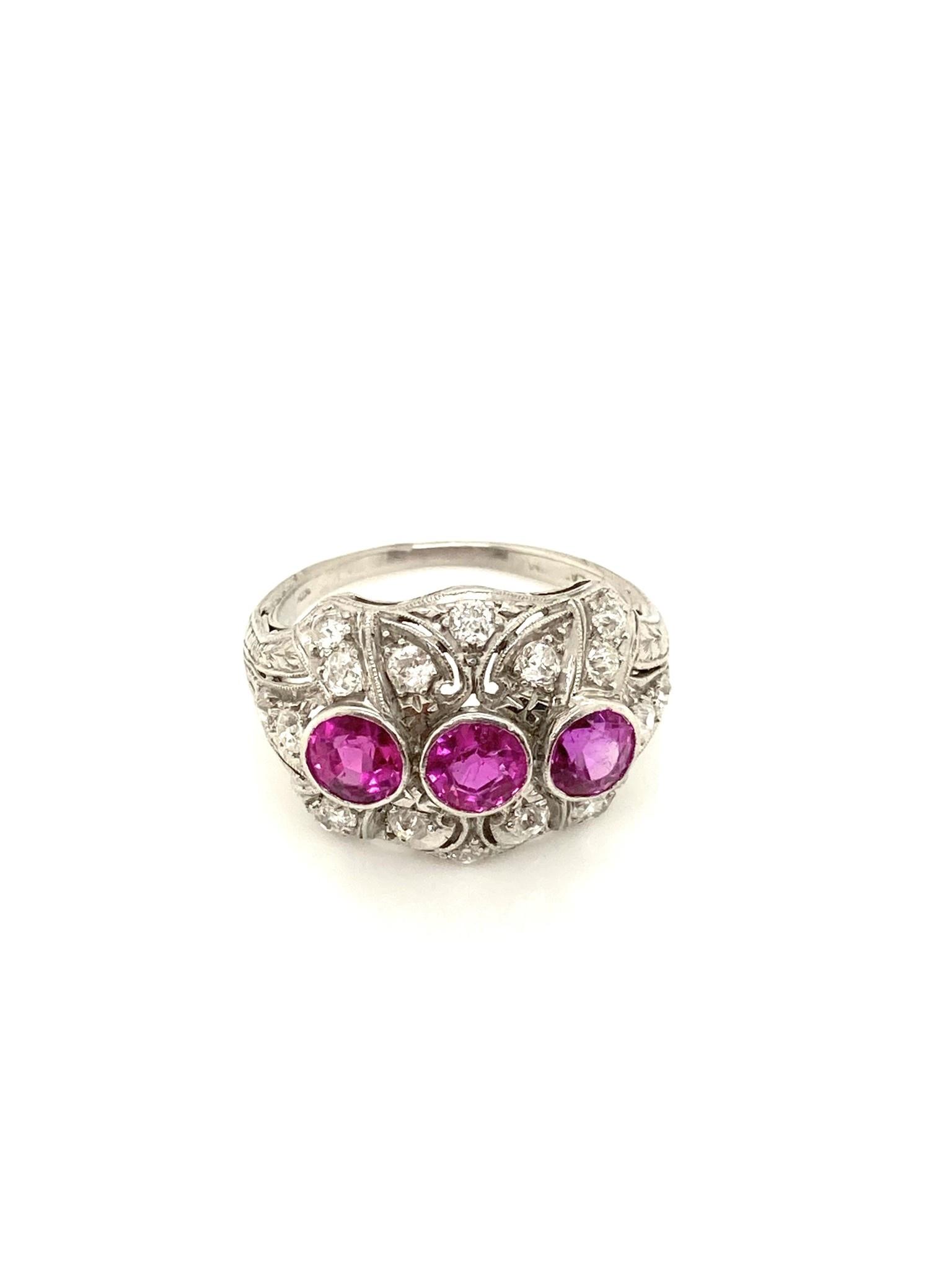 Platinum Diamond and Pink Sapphire Cocktail Ring