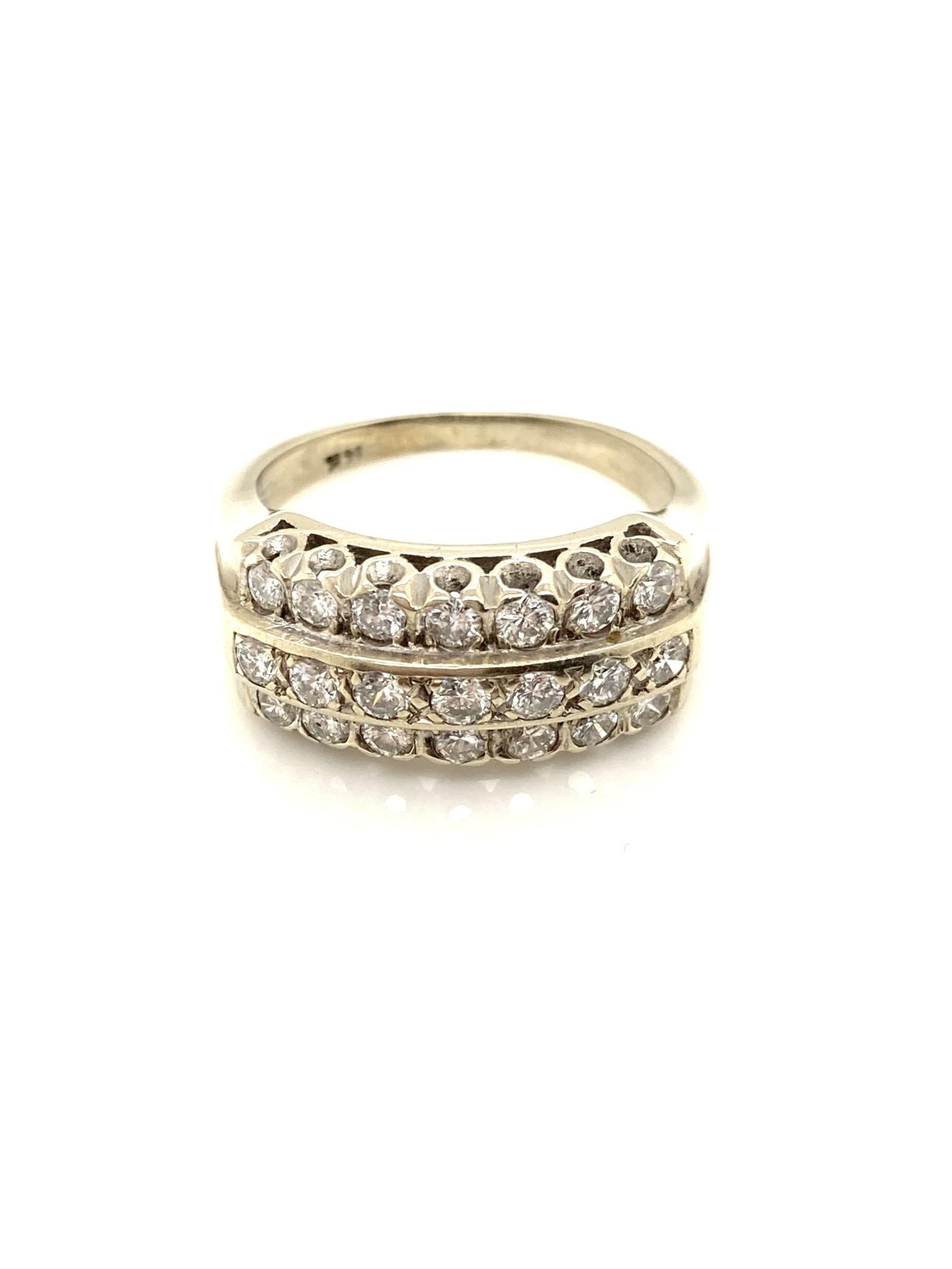 14K White Gold 3 Row Diamond Ring