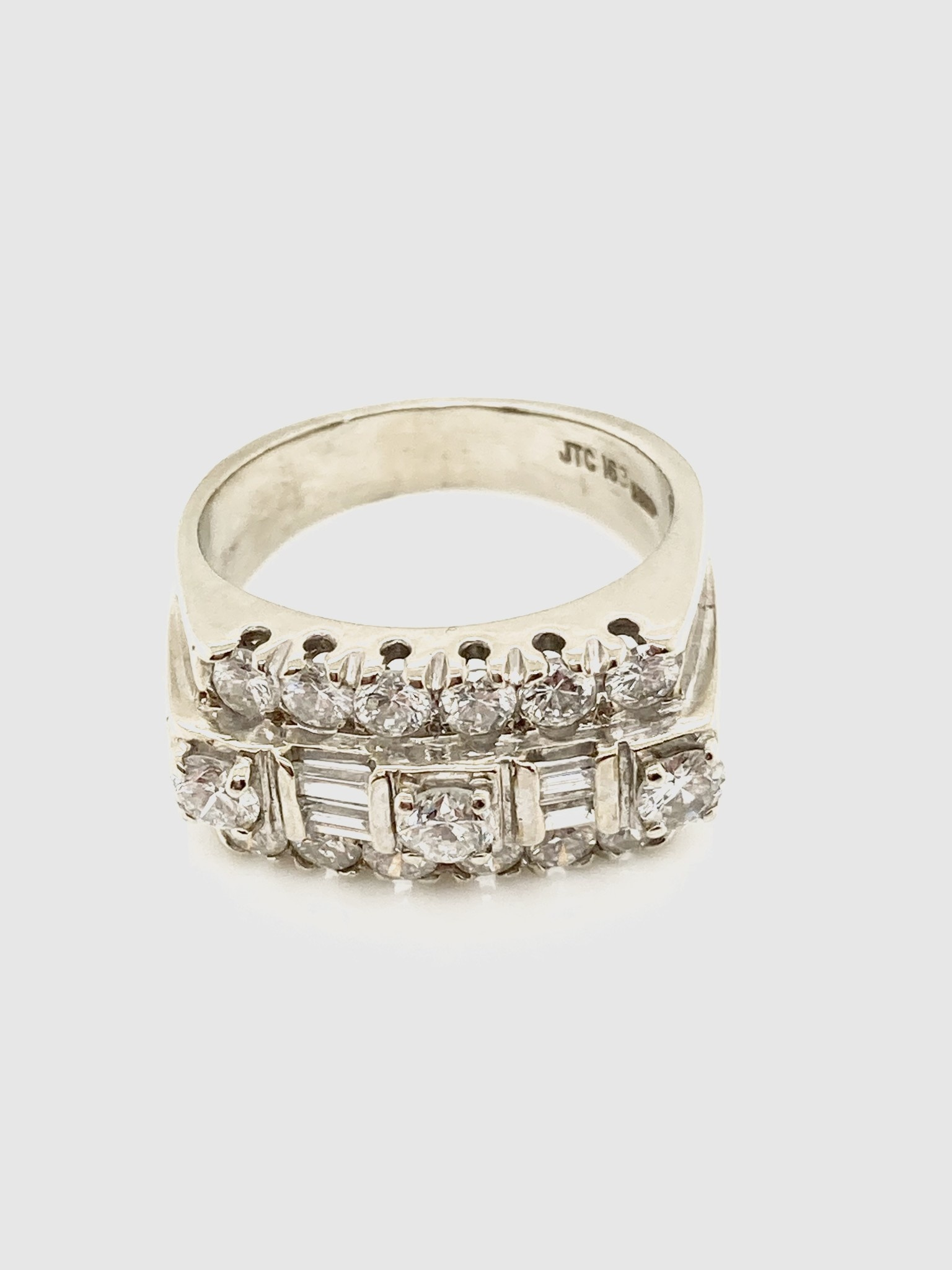 14k White Gold 3 Row Round and Baguette Diamond Ring