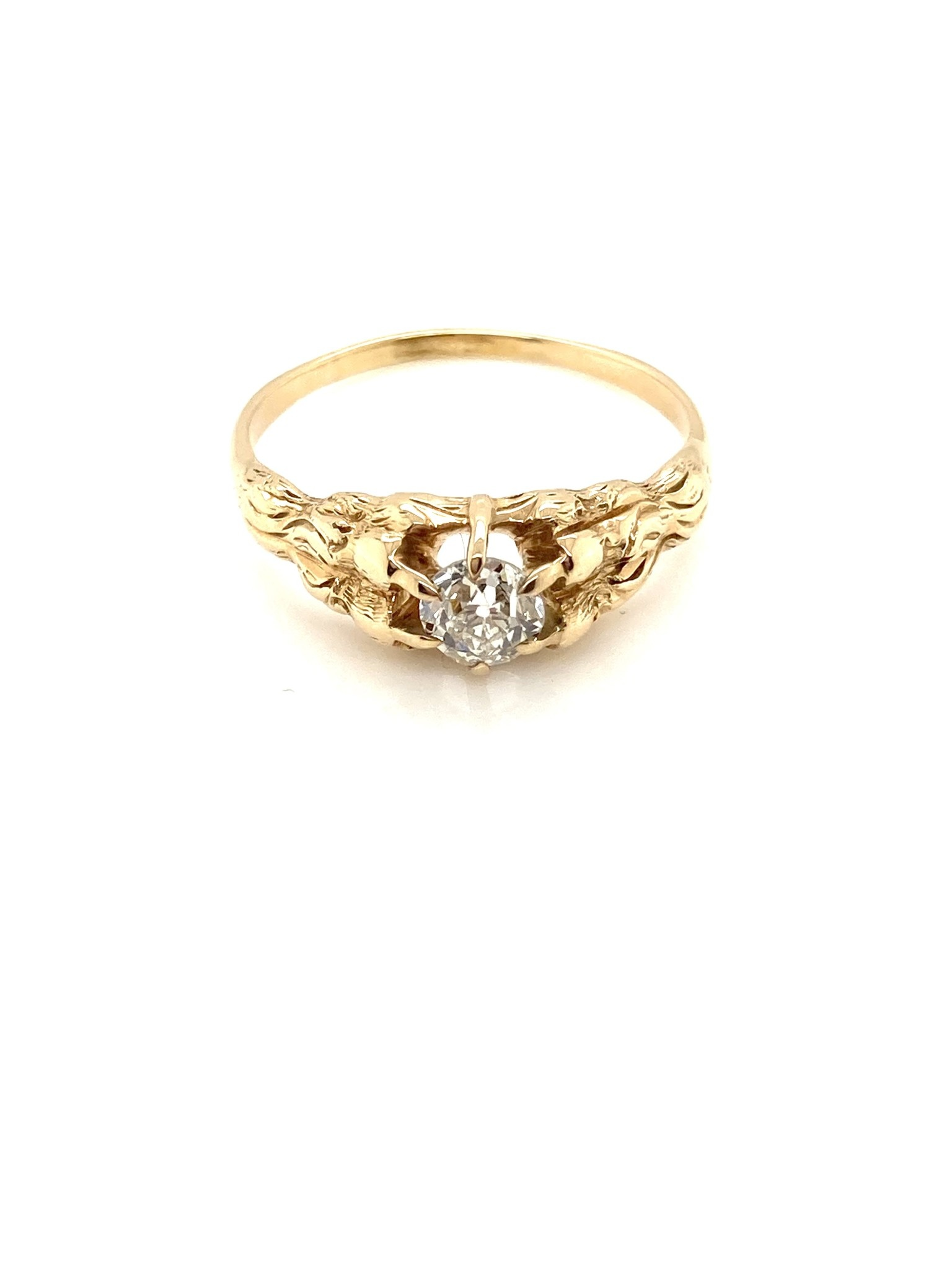 14K Yellow Gold Old Euro Diamond, Tree Bark Style Ring