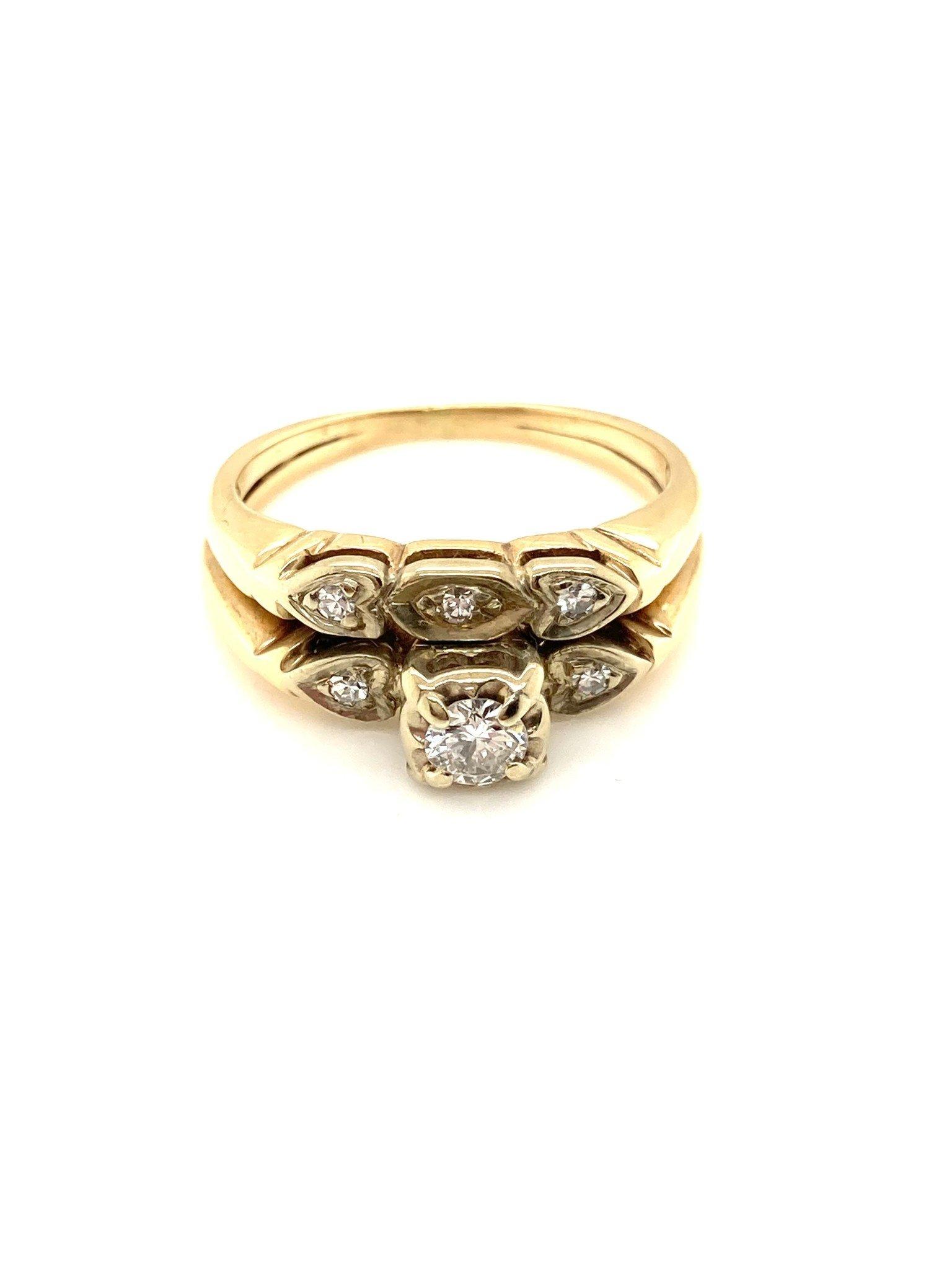14k Yellow Gold Diamond Wedding Set Illusion Setting