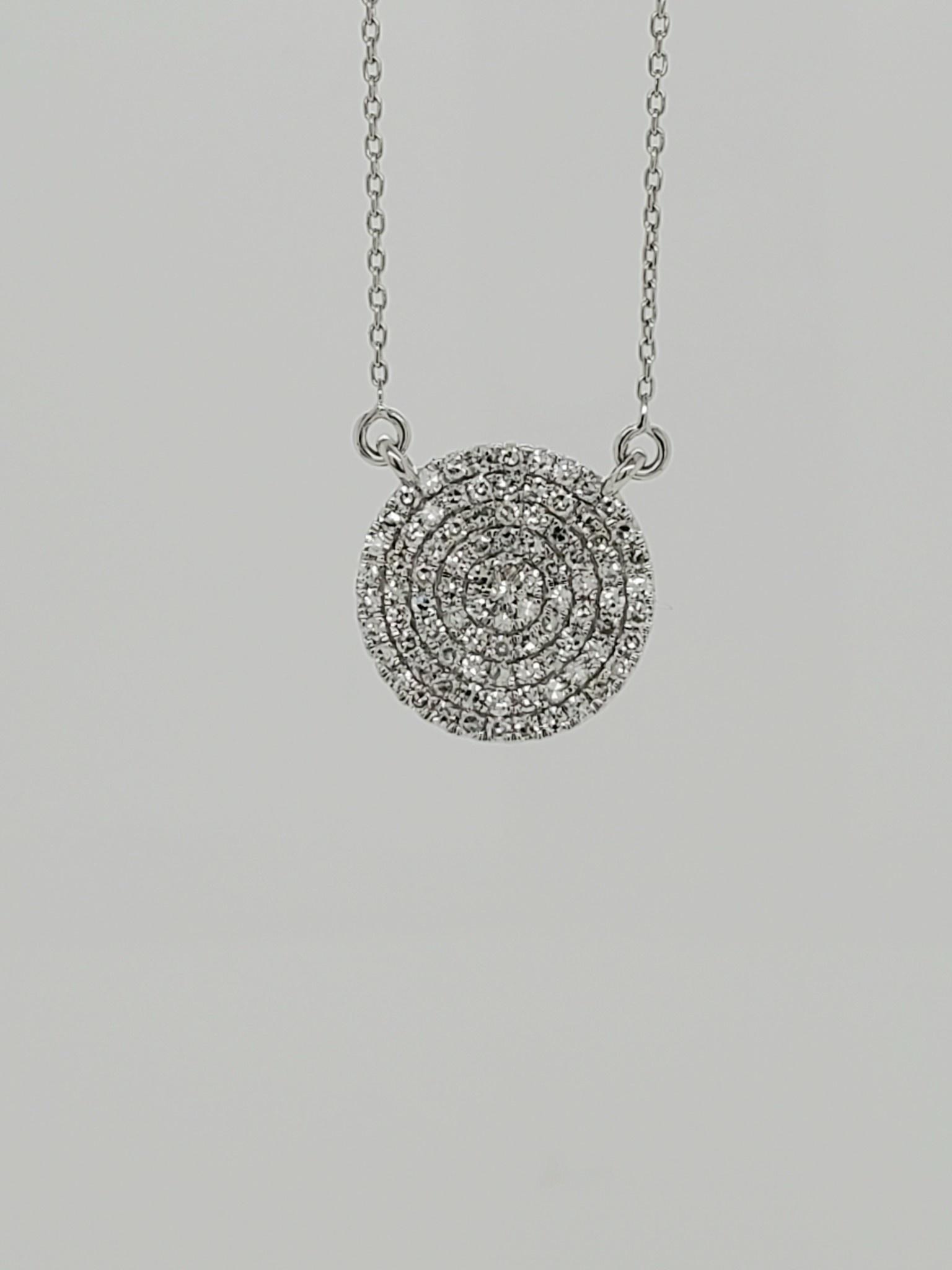 14KT white gold circle diamond pendant 0.30ct