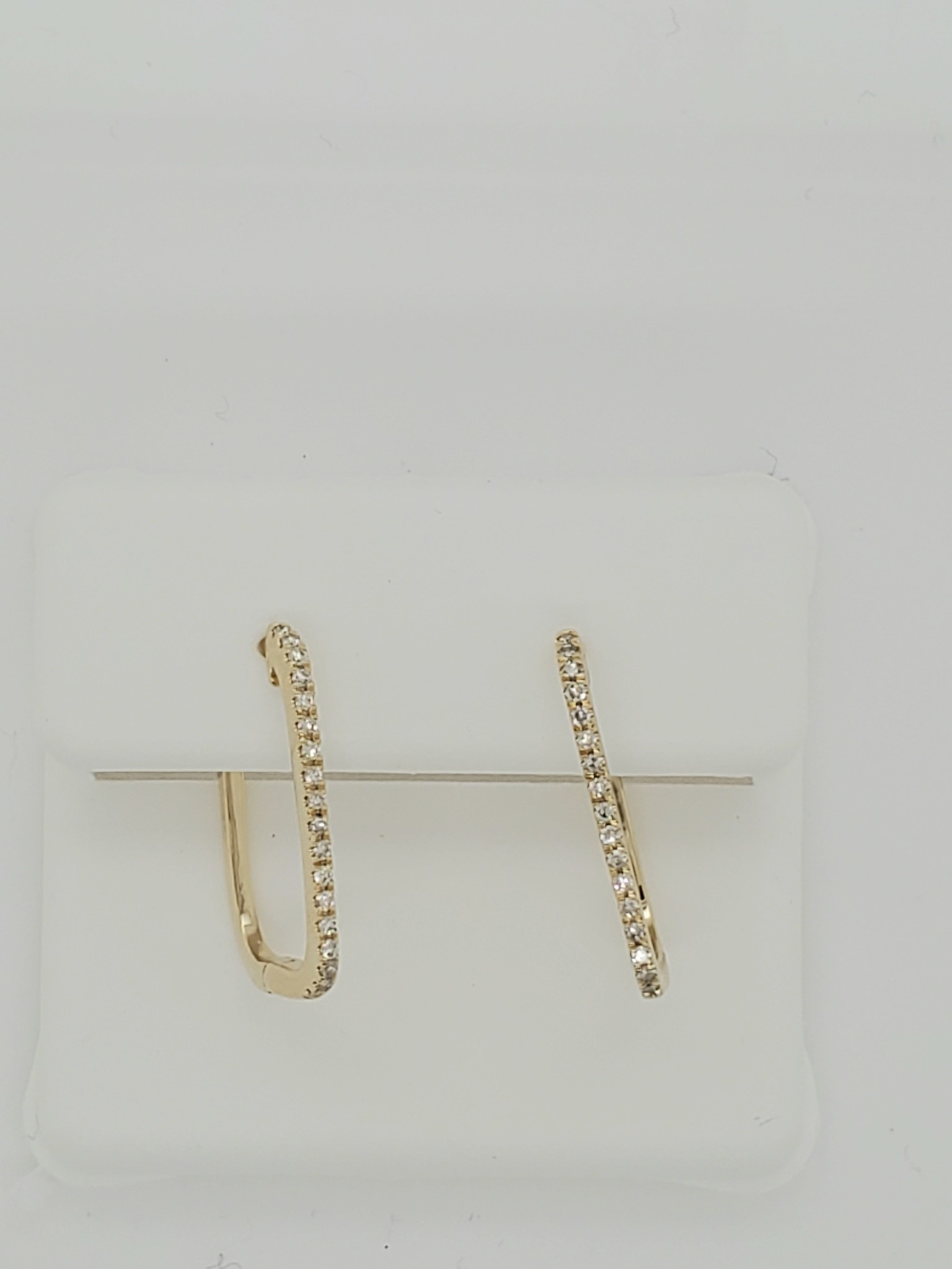 14KT yellow gold diamond square hoop earrings 0.15ct