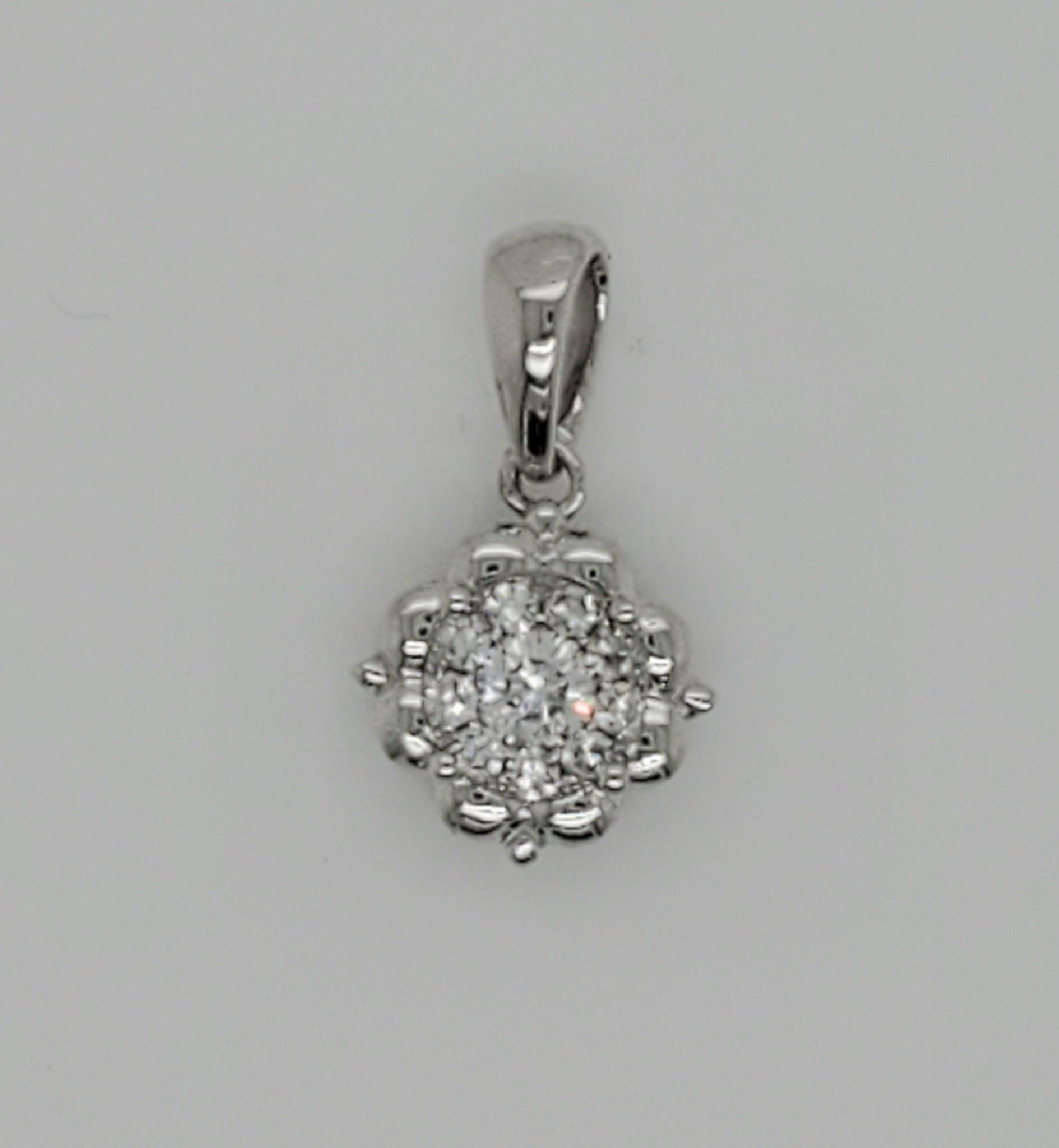 18KT White Gold Diamond Floral Pendant 0.17 CTTW