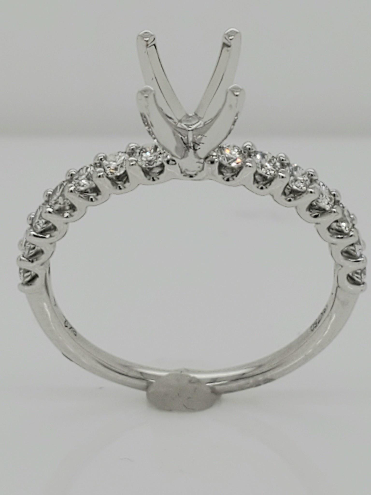 18KT White Gold Diamond Engagement Ring Setting 0.46 CTTW