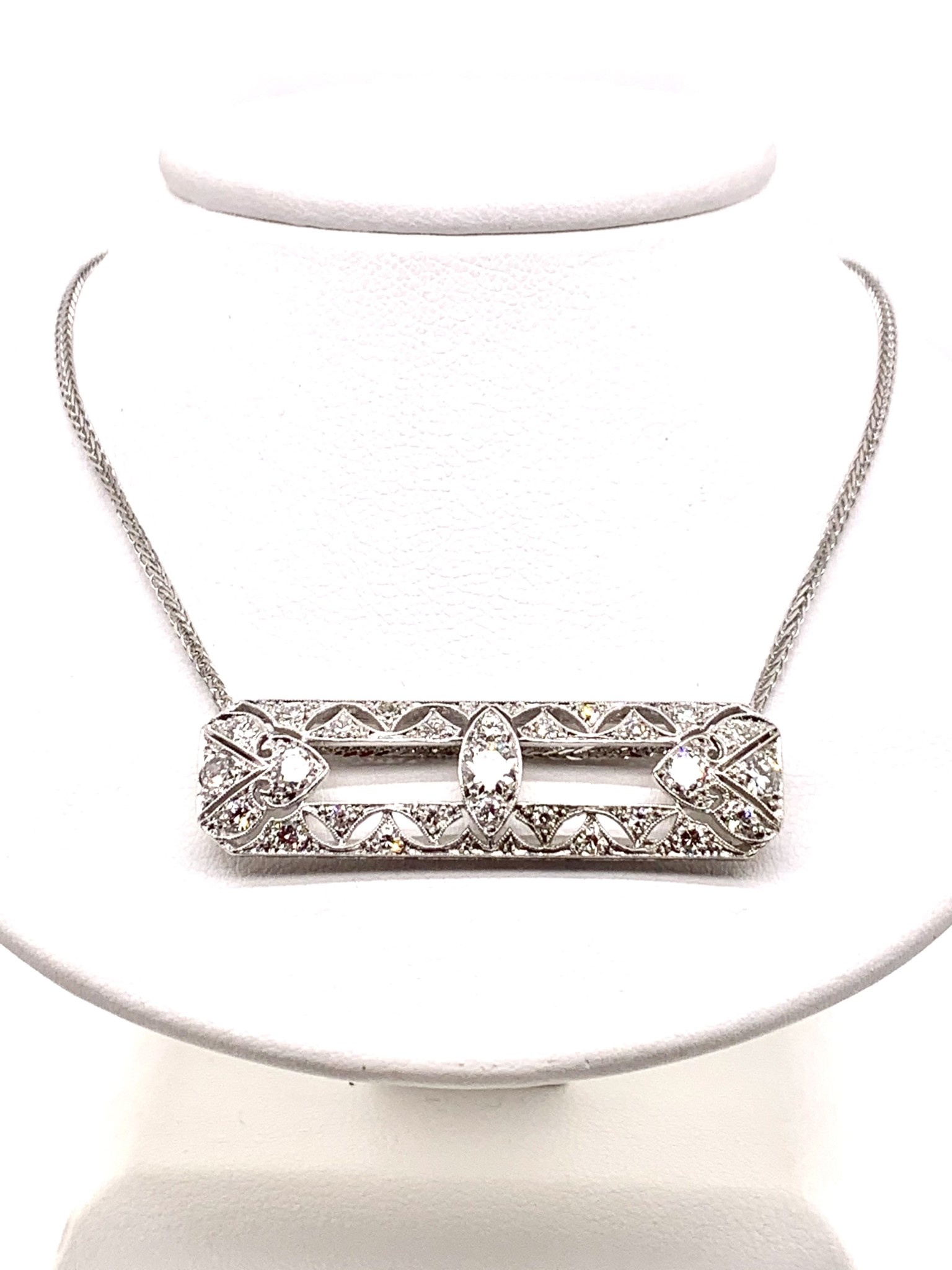 Platinum Art Deco pendant approx. 1.50ctw F/G/VVS on a 20in 1mm 14k white gold chain