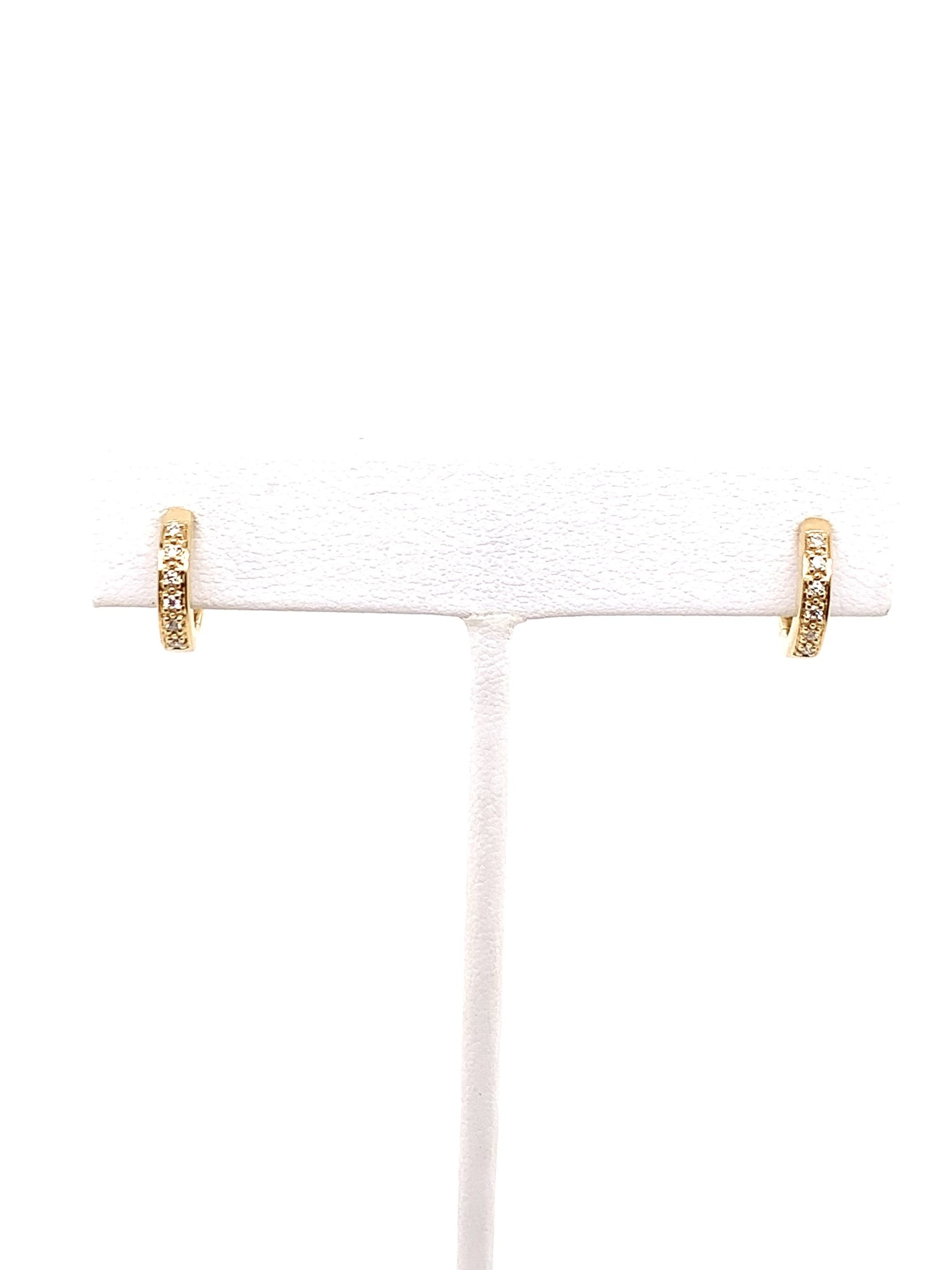 14k yellow gold 0.10ct diamond huggie earrings
