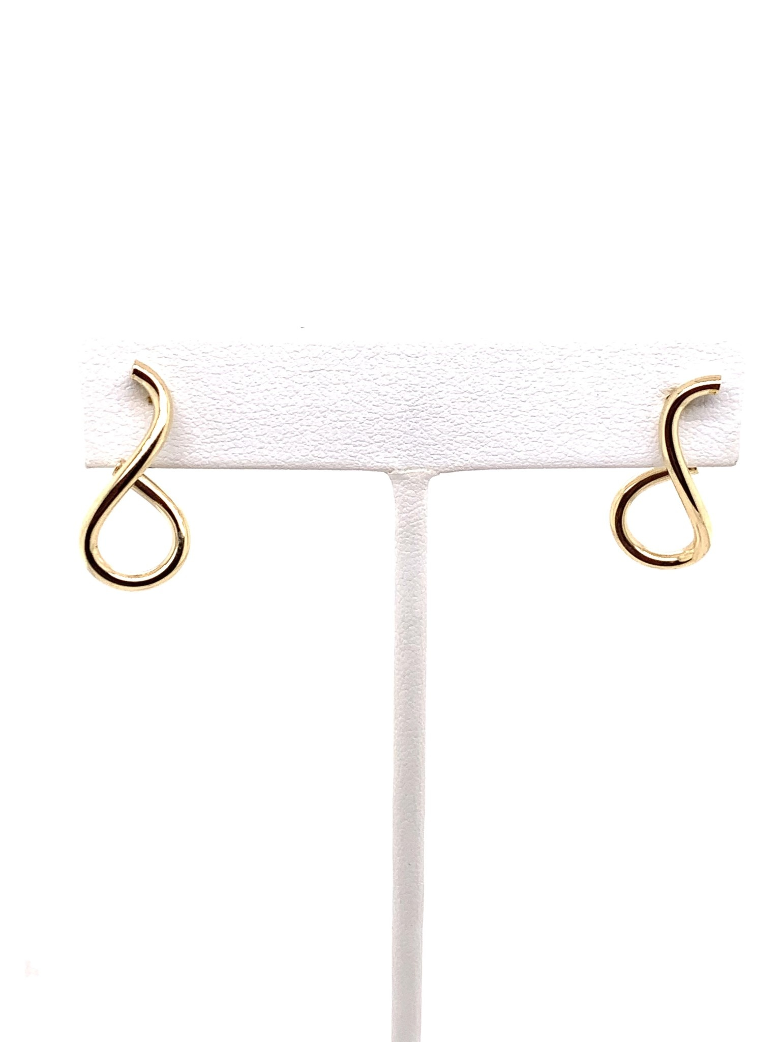 14K yellow gold swirl earrings