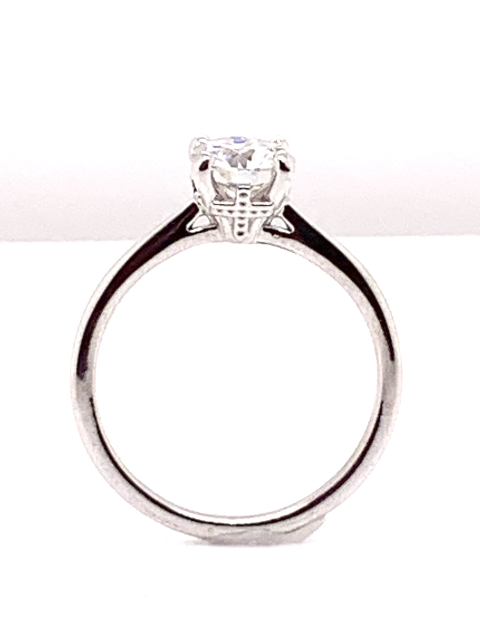 10k white gold 6.5mm round moissanite hidden cross solitaire engagement ring