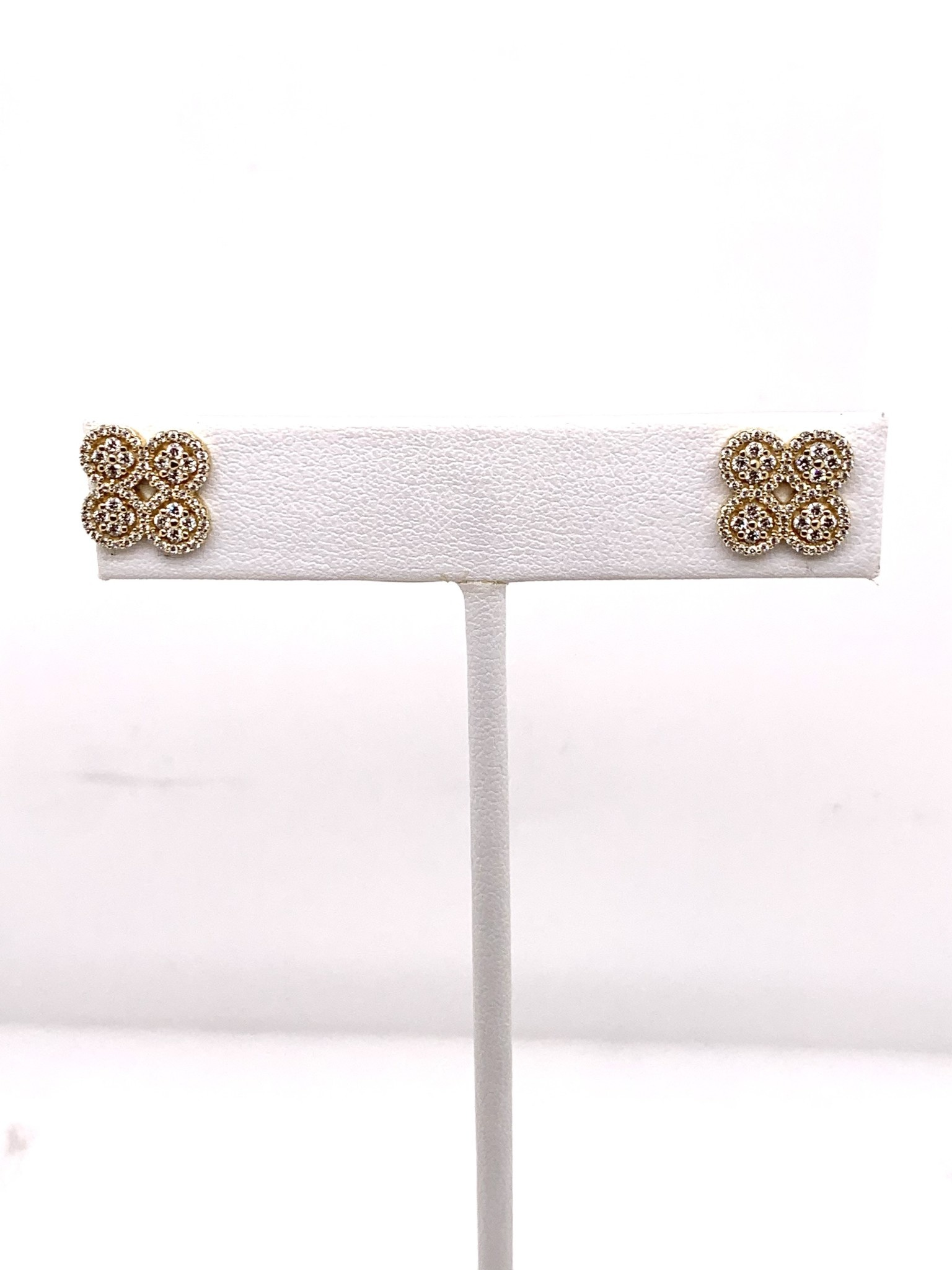 14K yellow 1/2 carat diamond clover earrings