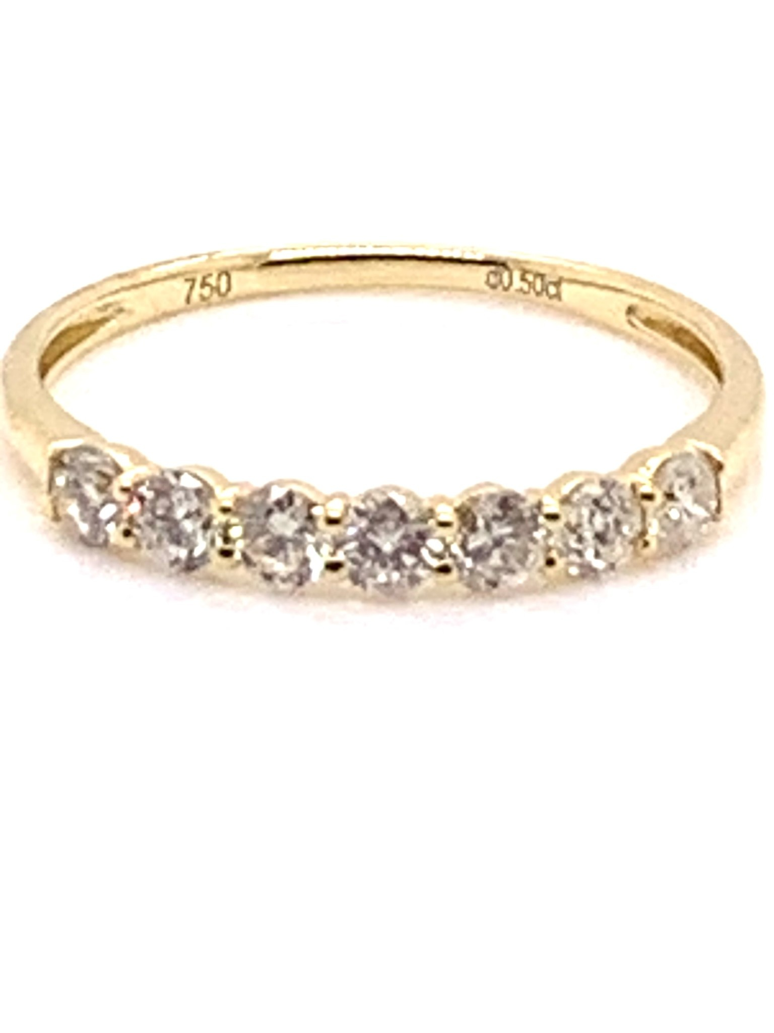 18K yellow gold 0.50 carat 7-stone diamond  band size 7